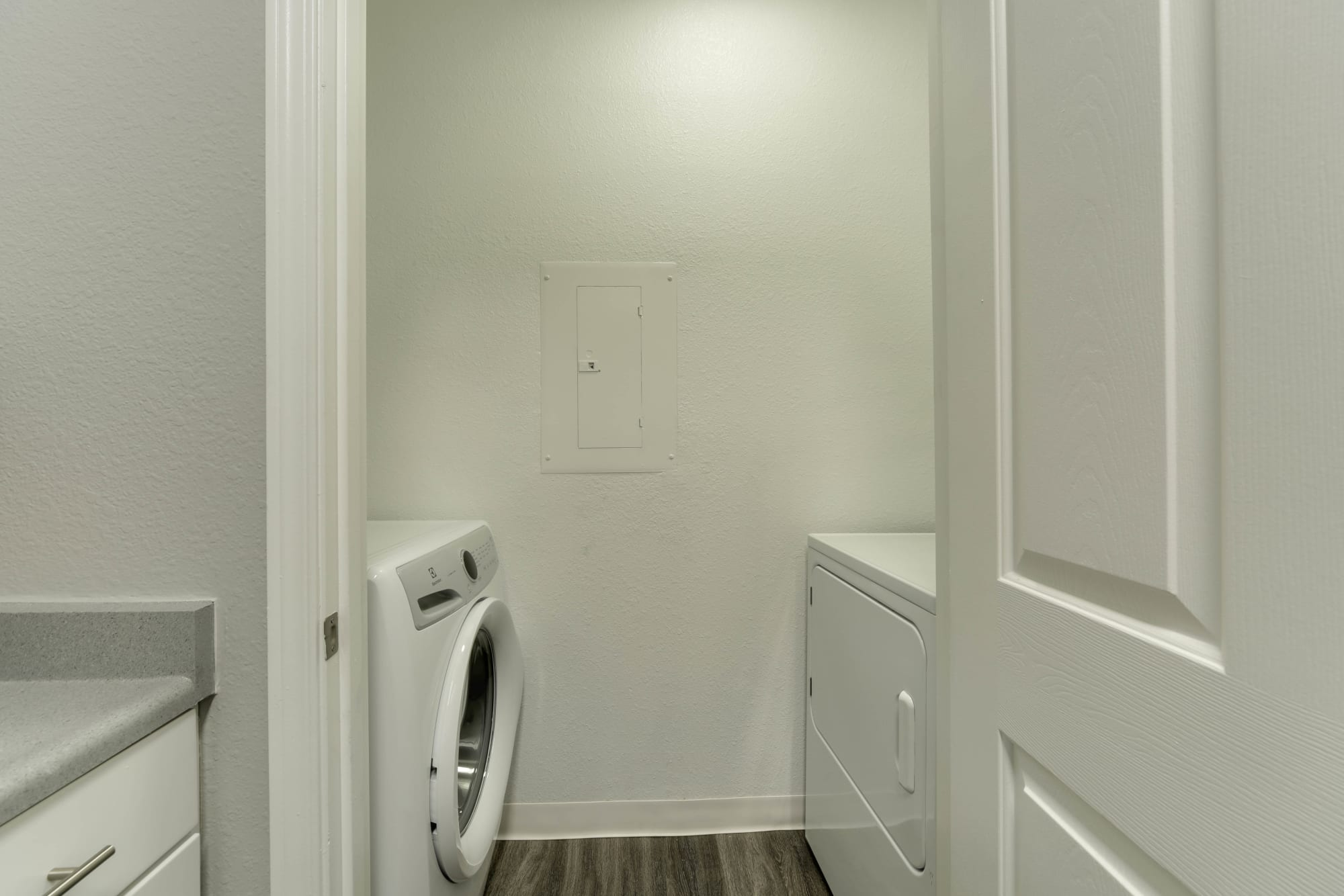 A washer and dryer combo at The Grove at Orenco Station in Hillsboro, Oregon