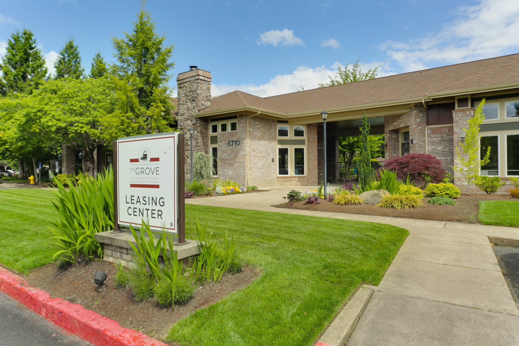 Leasing office entrance at The Grove at Orenco Station in Hillsboro, Oregon