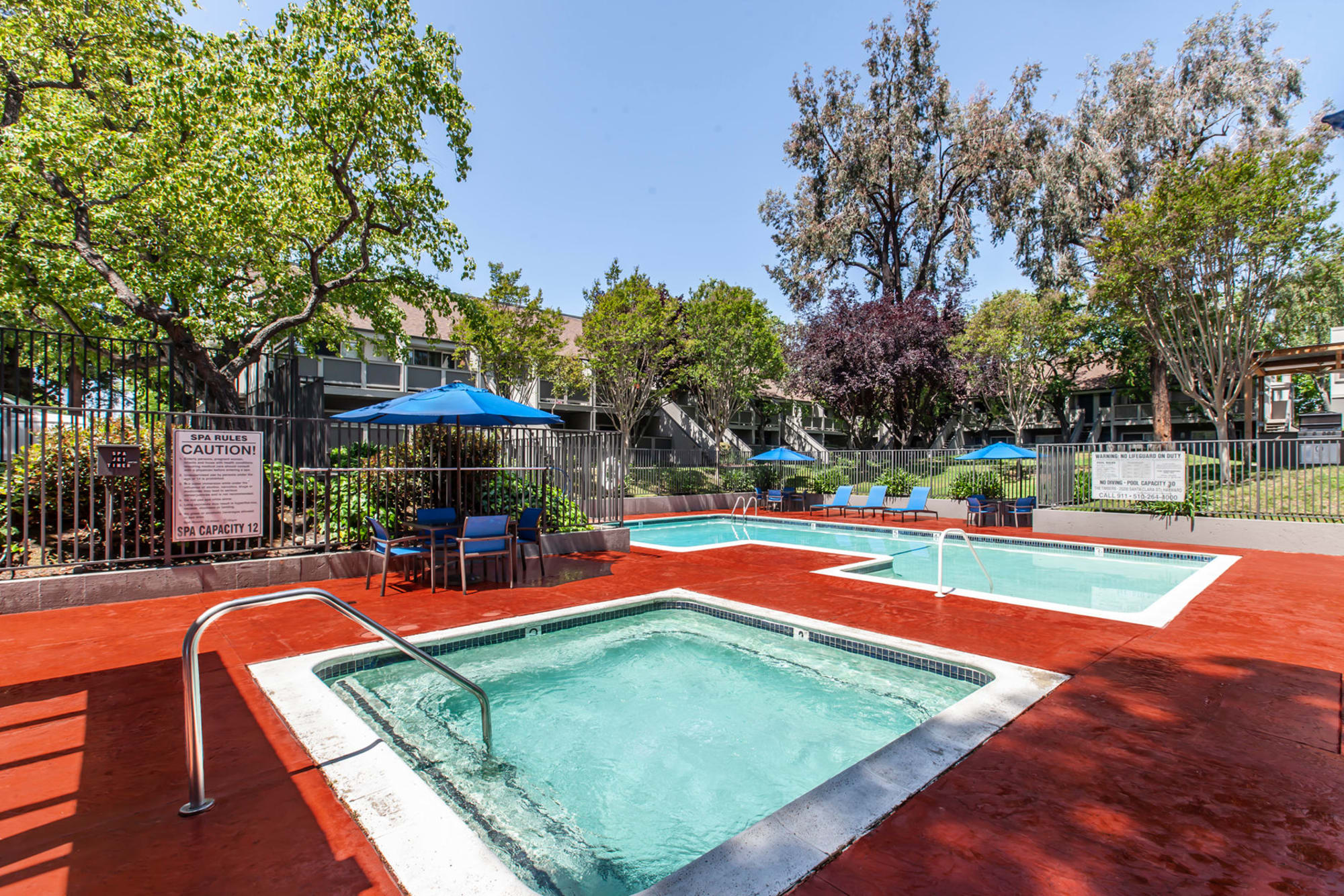 The Timbers Apartments offers a beautiful swimming pool in Hayward, California