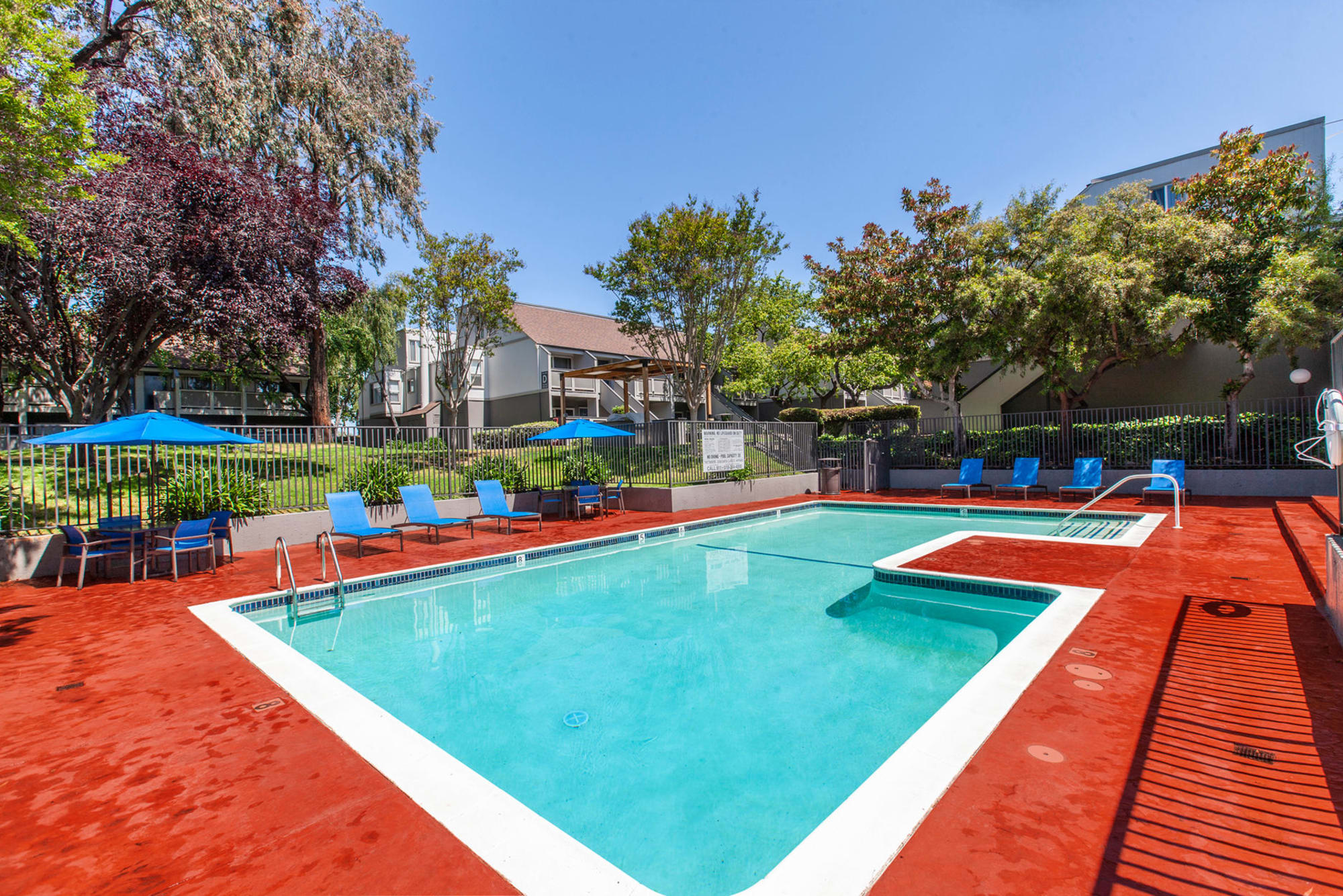 The pool at The Timbers Apartments in Hayward, California