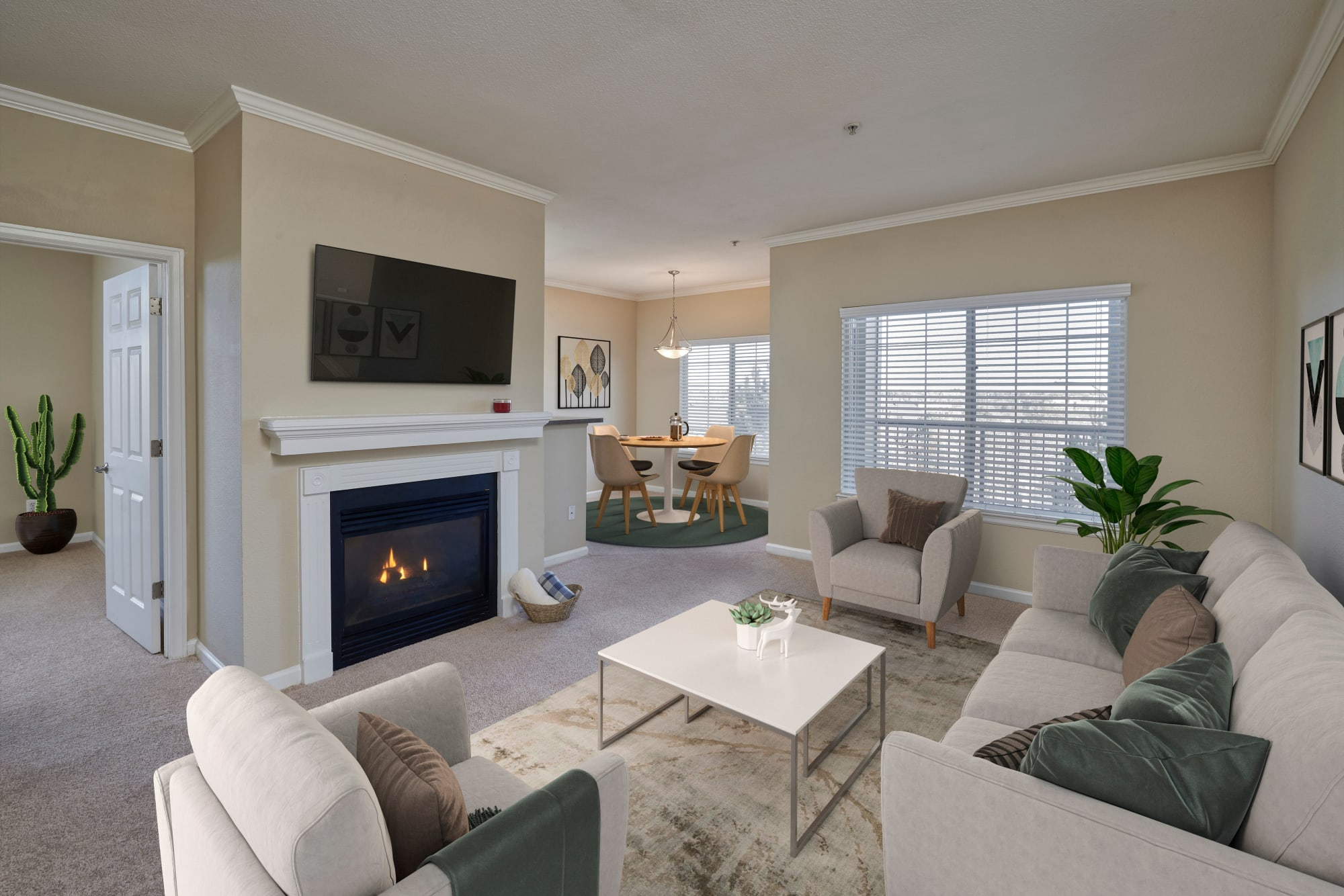 Living room at Skyecrest Apartments in Lakewood, Colorado