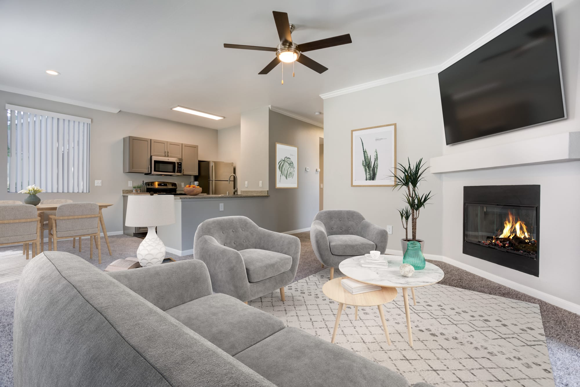Living room layout at Miramonte and Trovas in Sacramento, California
