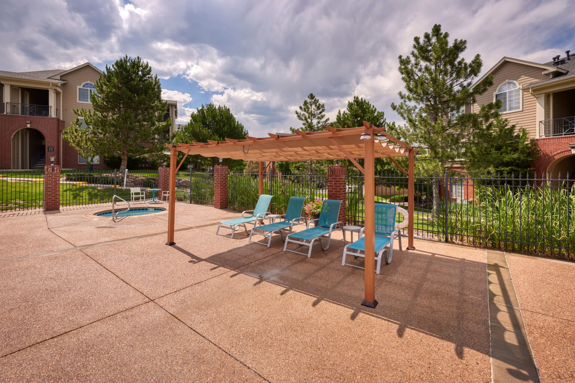Poolside cabana and hot tub at Skyecrest Apartments in Lakewood, Colorado