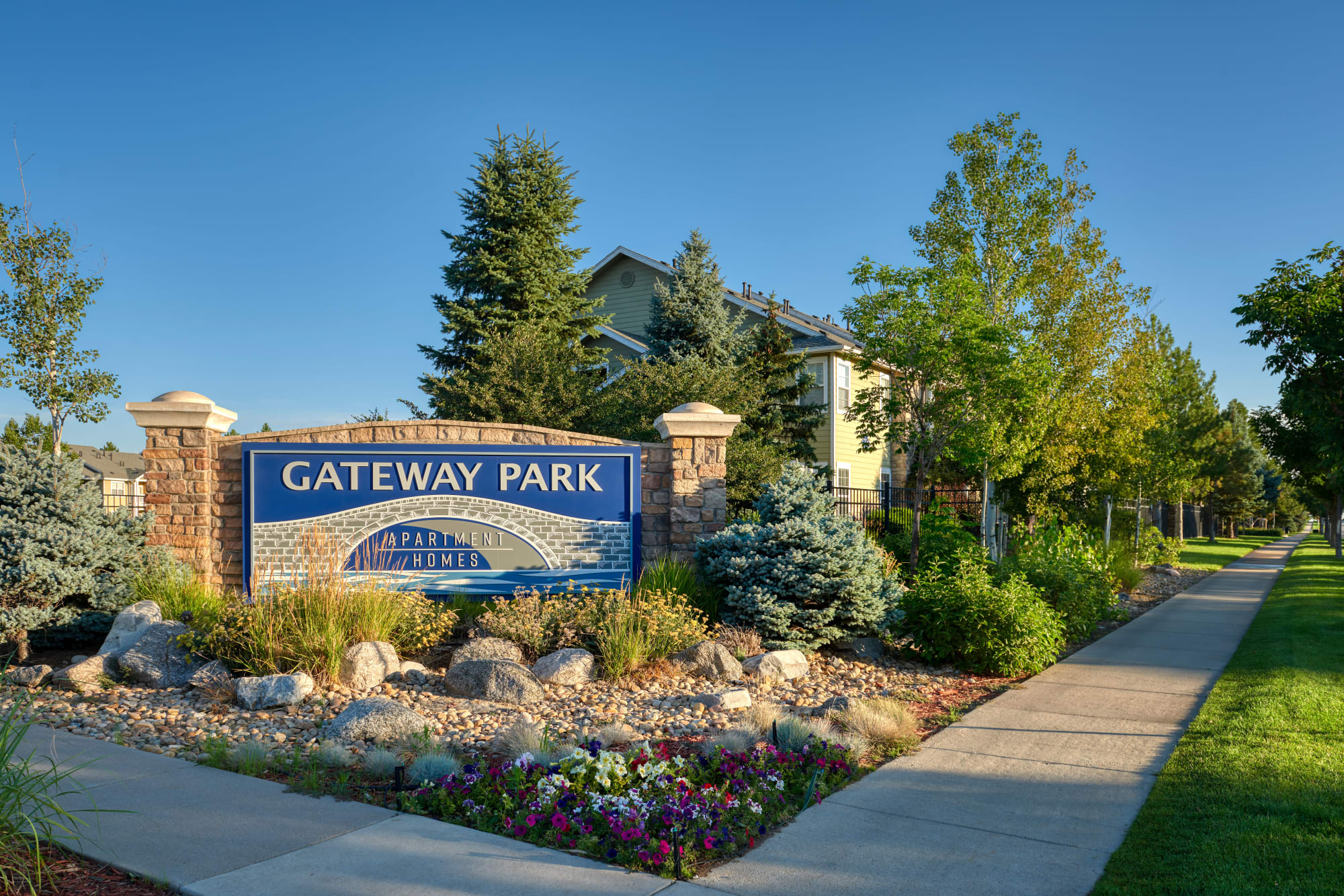 Monument Sign at Gateway Park Apartments in Denver, Colorado