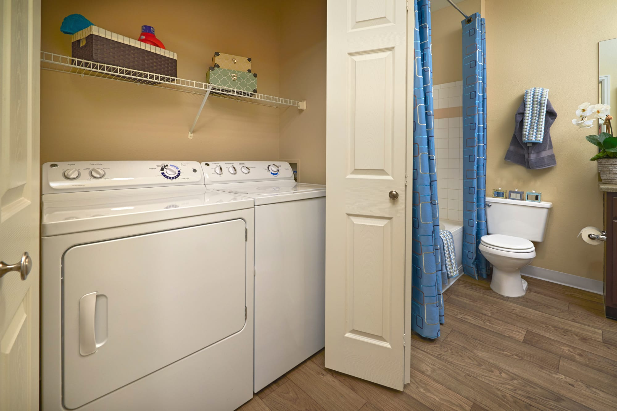 Washer and dryer at Skyecrest Apartments in Lakewood, Colorado