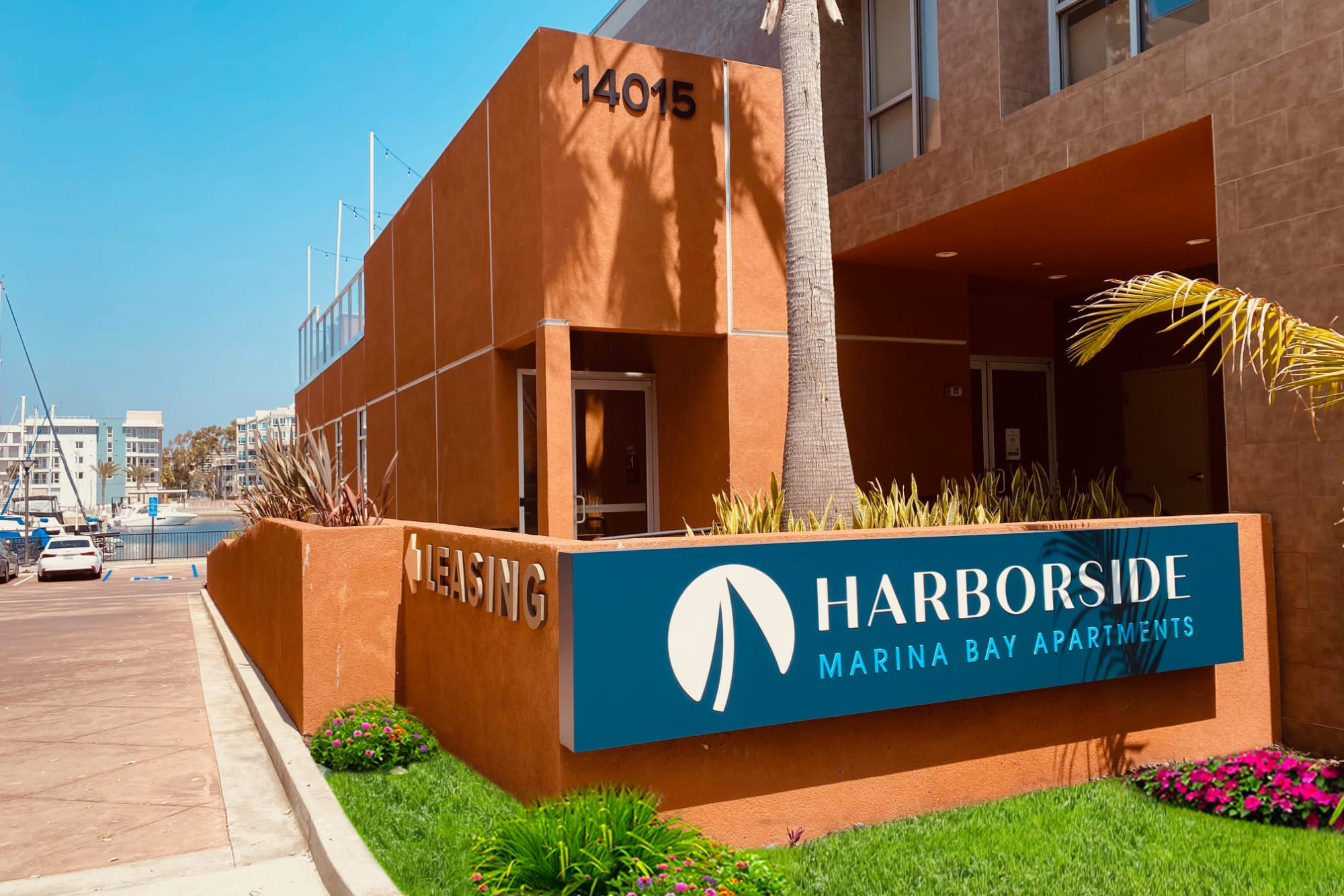 Monument Sign at Harborside Marina Bay Apartments in Marina del Rey, California