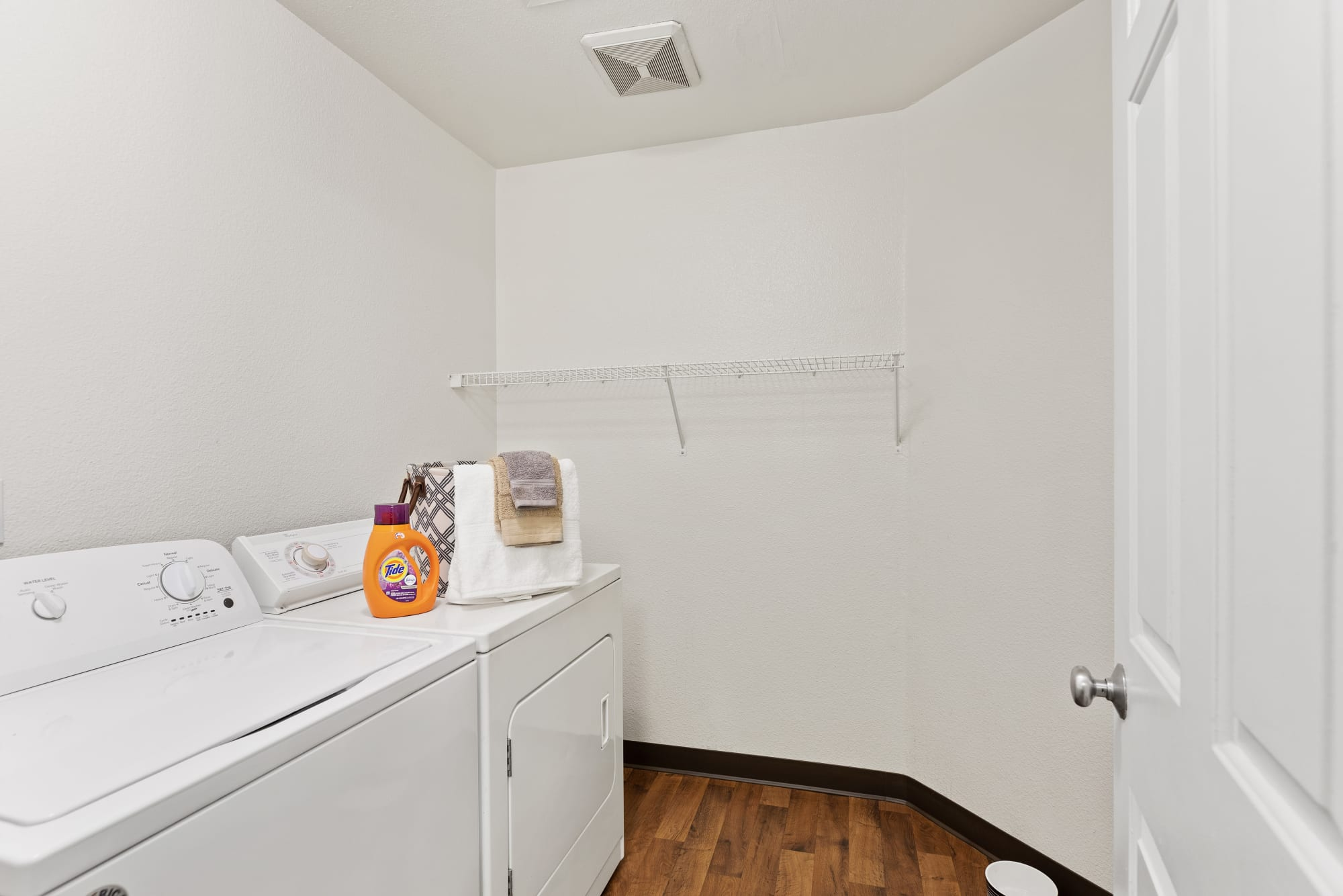 Full-sized washer and dryer at HighGrove Apartments in Everett, Washington