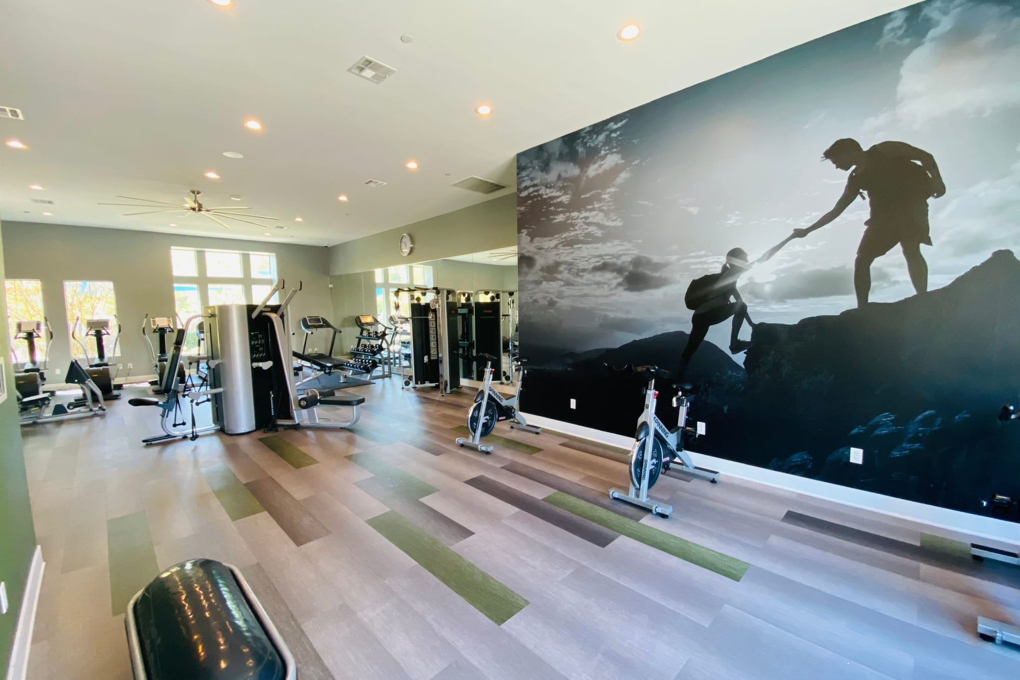 Fitness center with fitness on demand area  at Palisades Sierra Del Oro