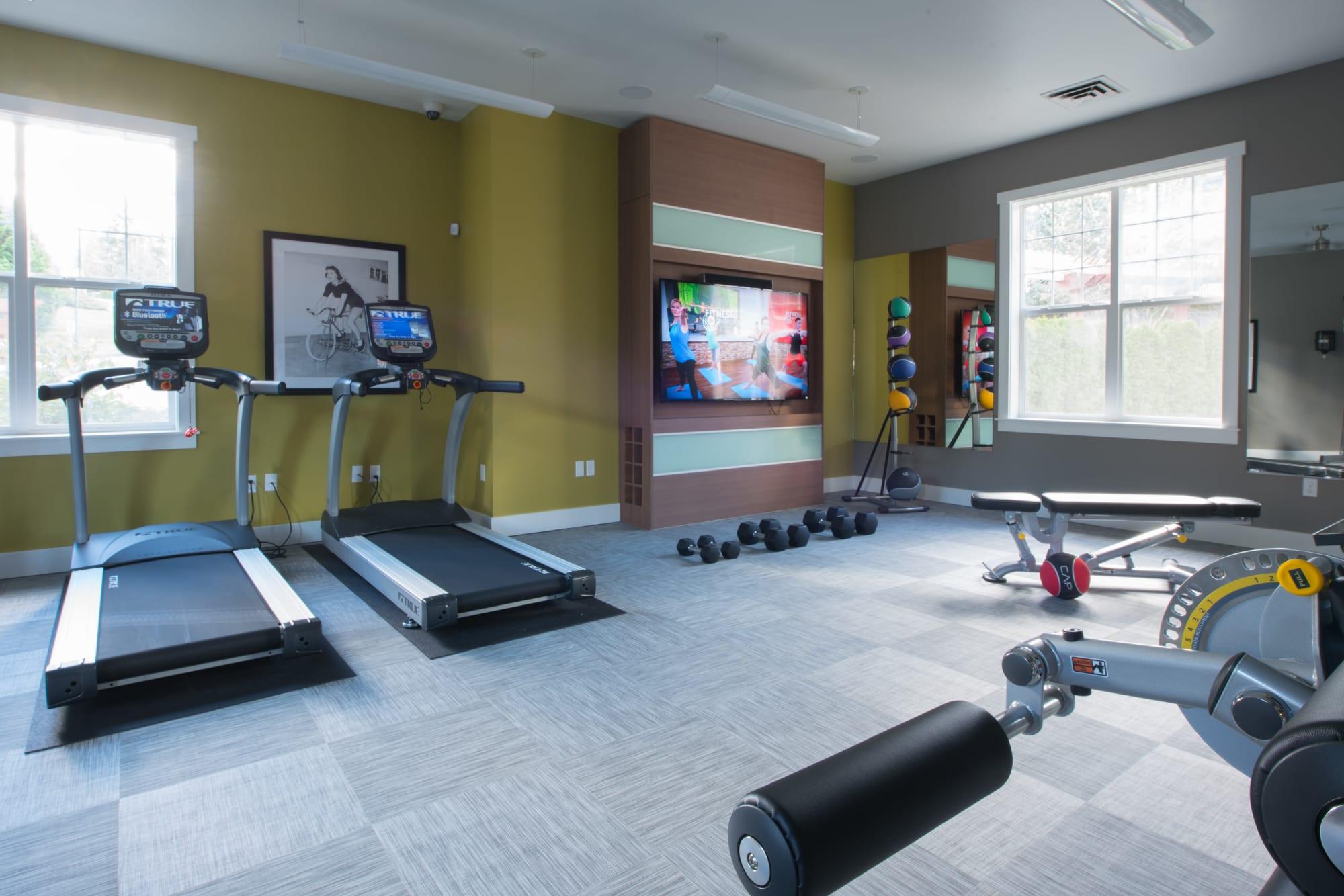 A fitness center with treadmills at Brookside Village in Auburn, Washington