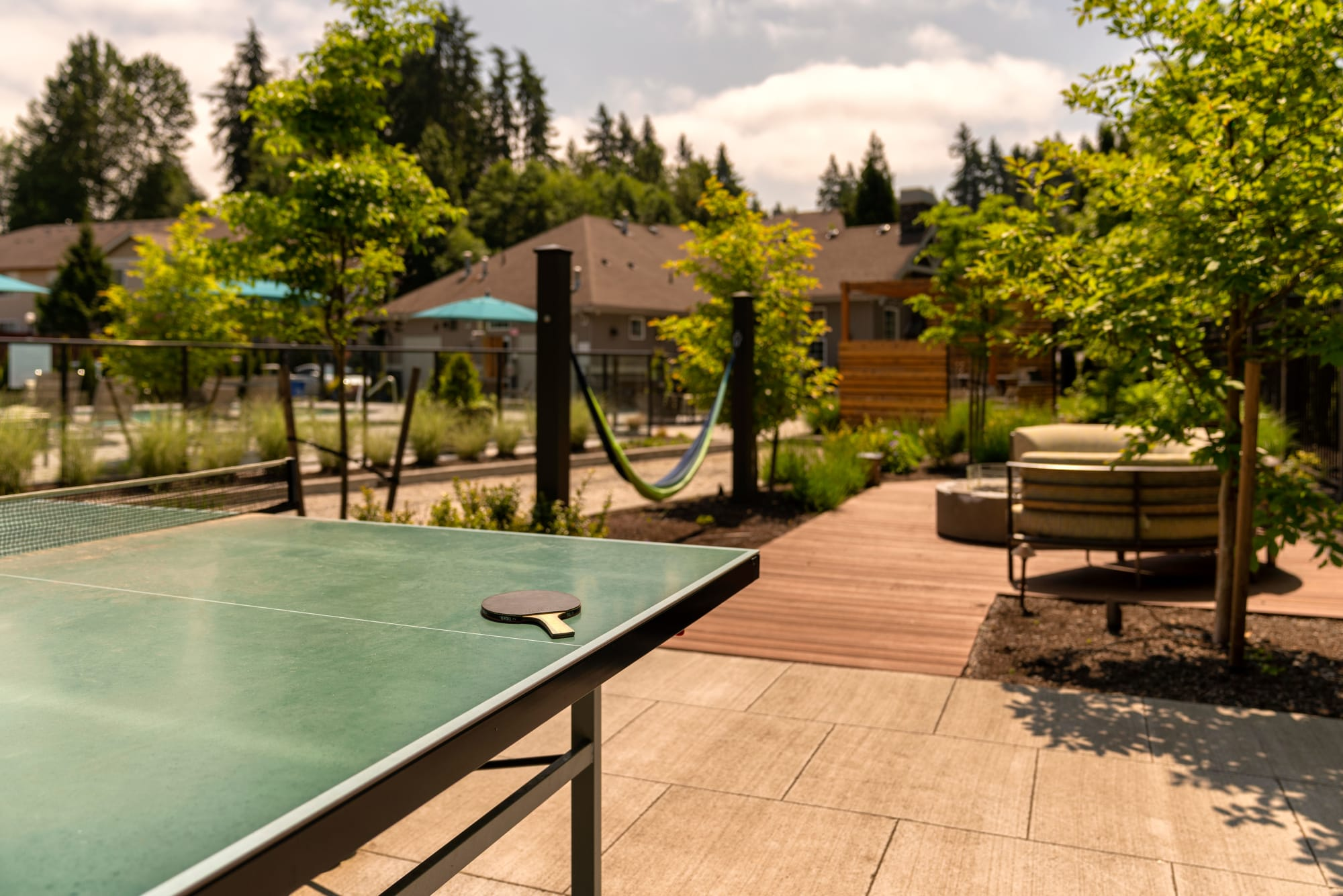 A ping pong table at Brookside Village in Auburn, Washington