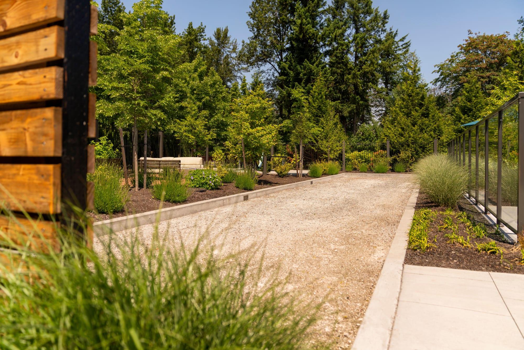 A corn hole area at Brookside Village in Auburn, Washington