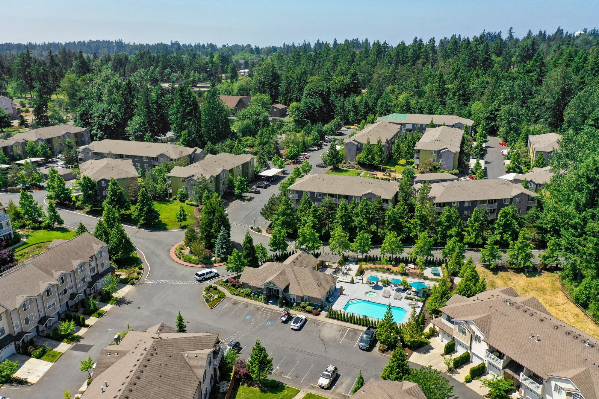 An aerial view of Brookside Village in Auburn, Washington