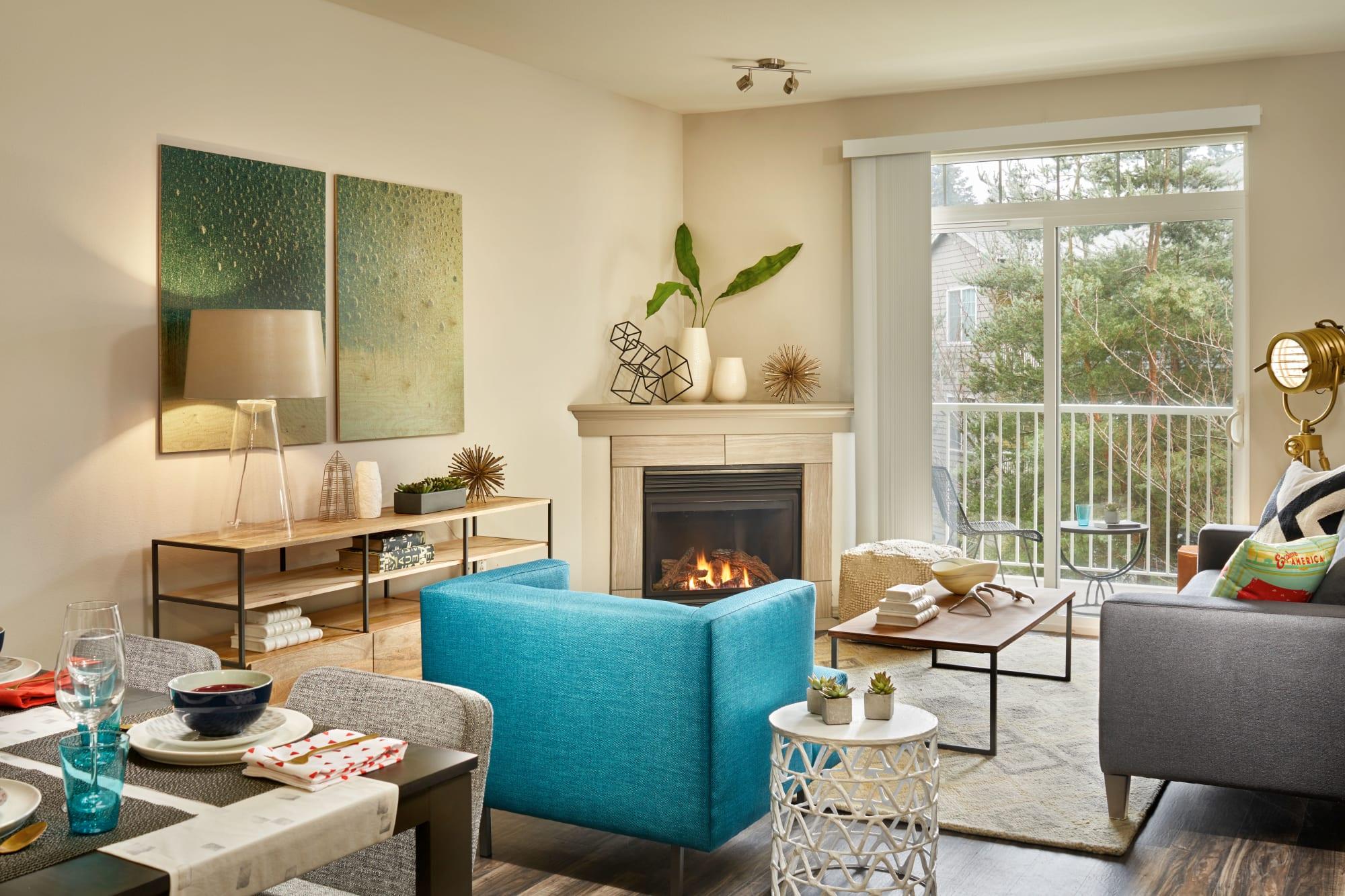 Furnished living room at Brookside Village in Auburn, Washington