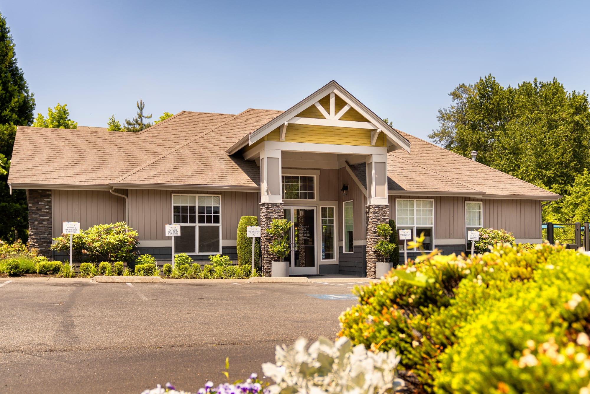 Leasing office entrance at Brookside Village in Auburn, Washington