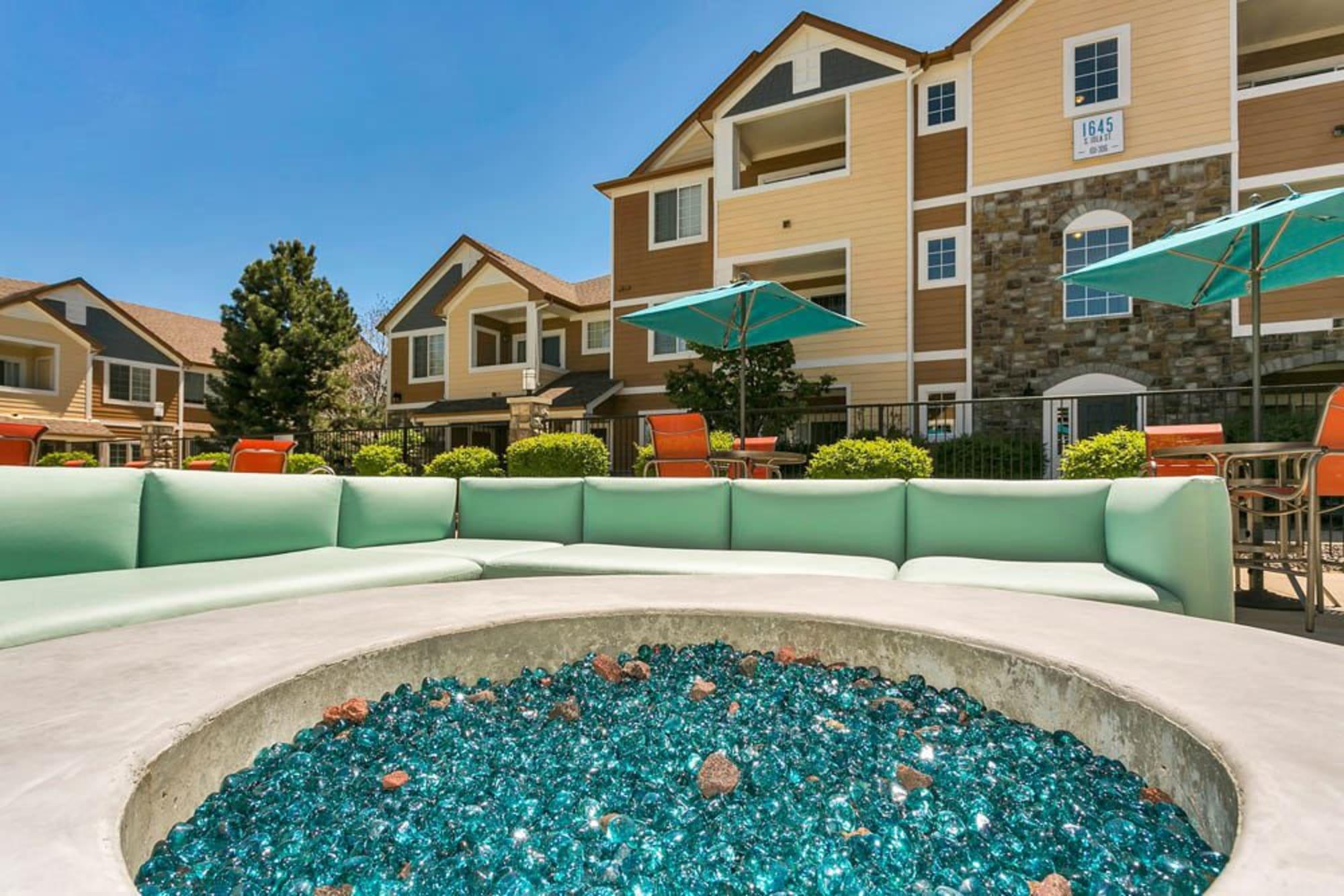 Poolside seating at Crestone Apartments in Aurora, Colorado