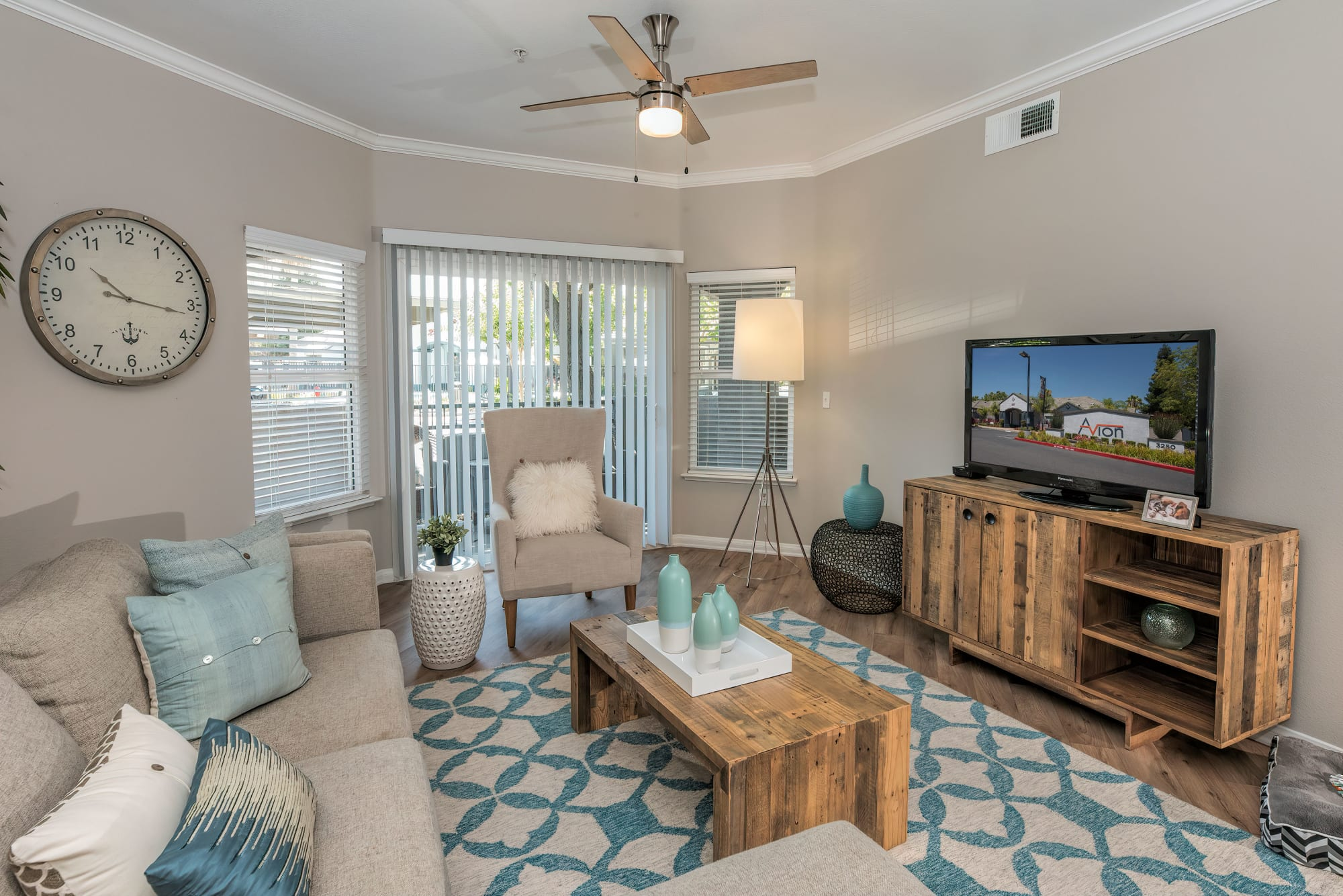 A spacious apartment living room at Avion Apartments in Rancho Cordova, California