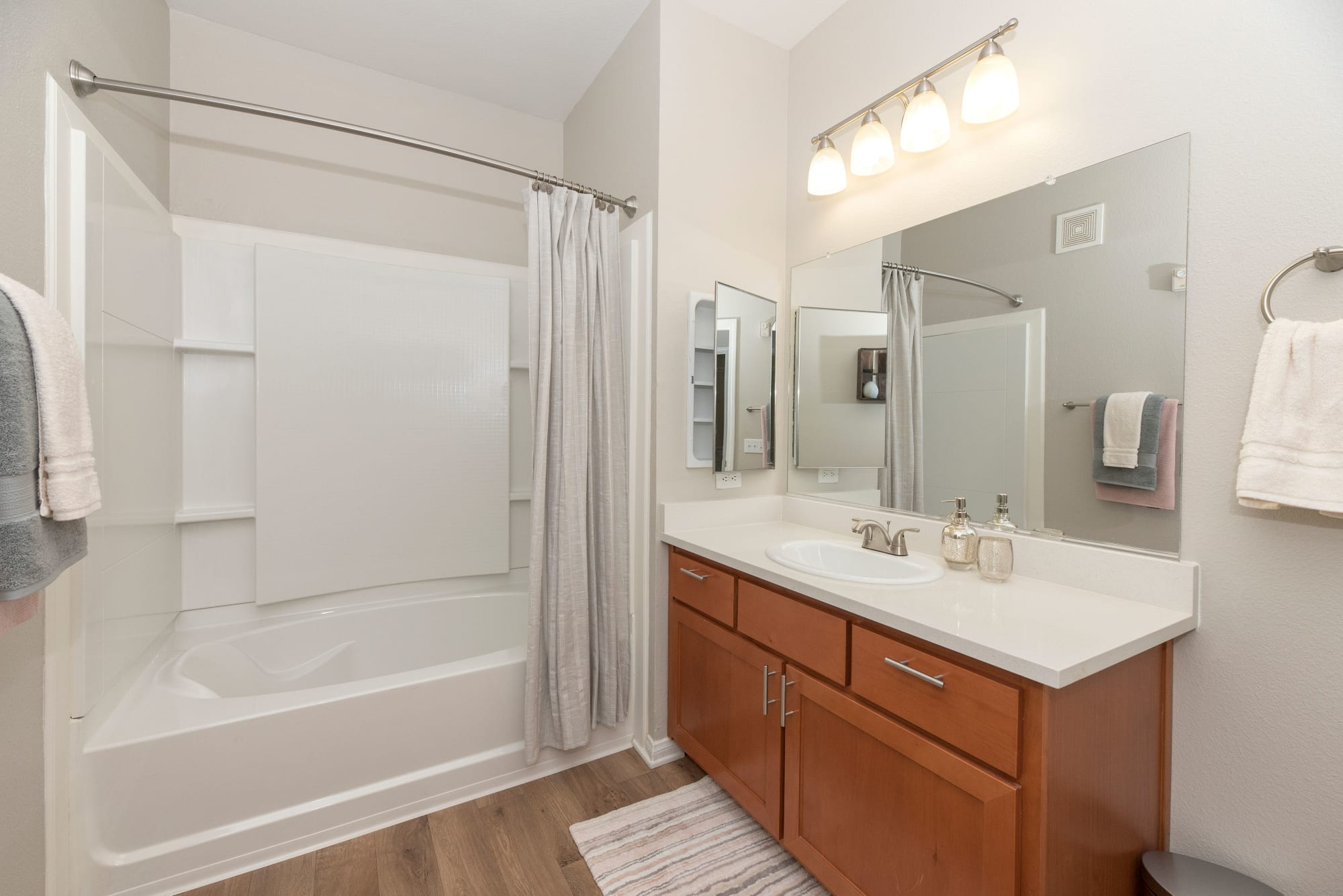 Bathroom in apartment at Avion Apartments in Rancho Cordova, California