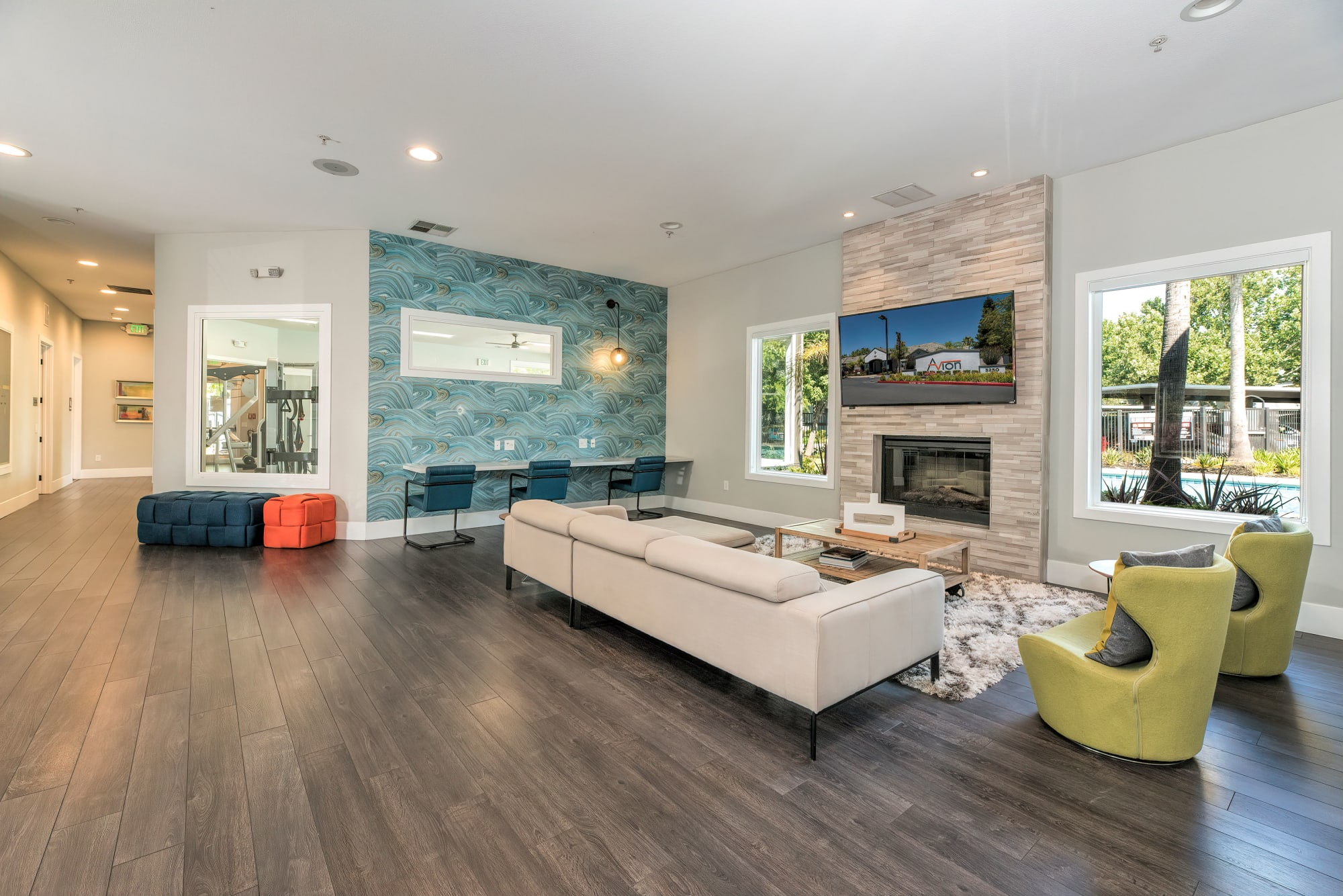 Model living room in Rancho Cordova, California at Avion Apartments
