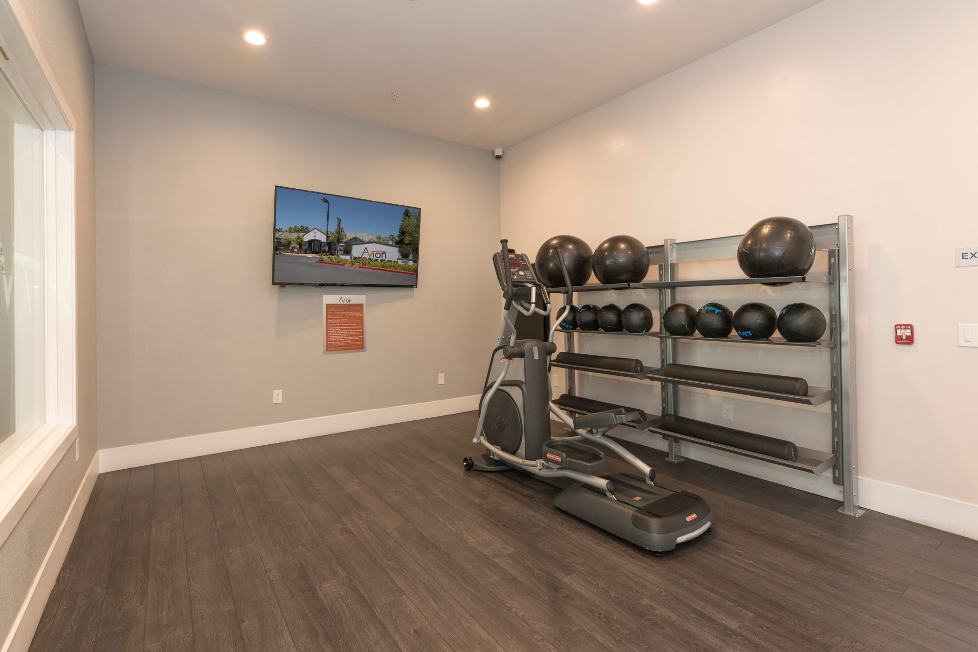 Weights in the fitness center at Avion Apartments in Rancho Cordova, California