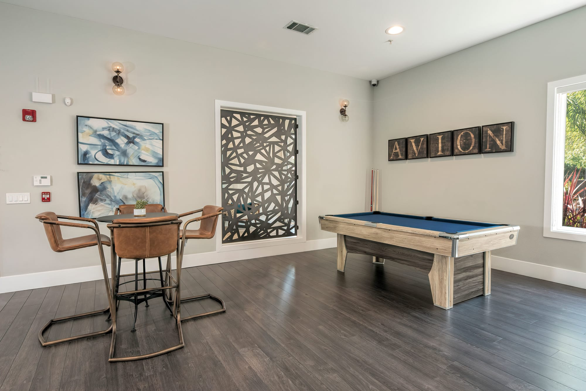 Pool table in the community area at Avion Apartments in Rancho Cordova, California