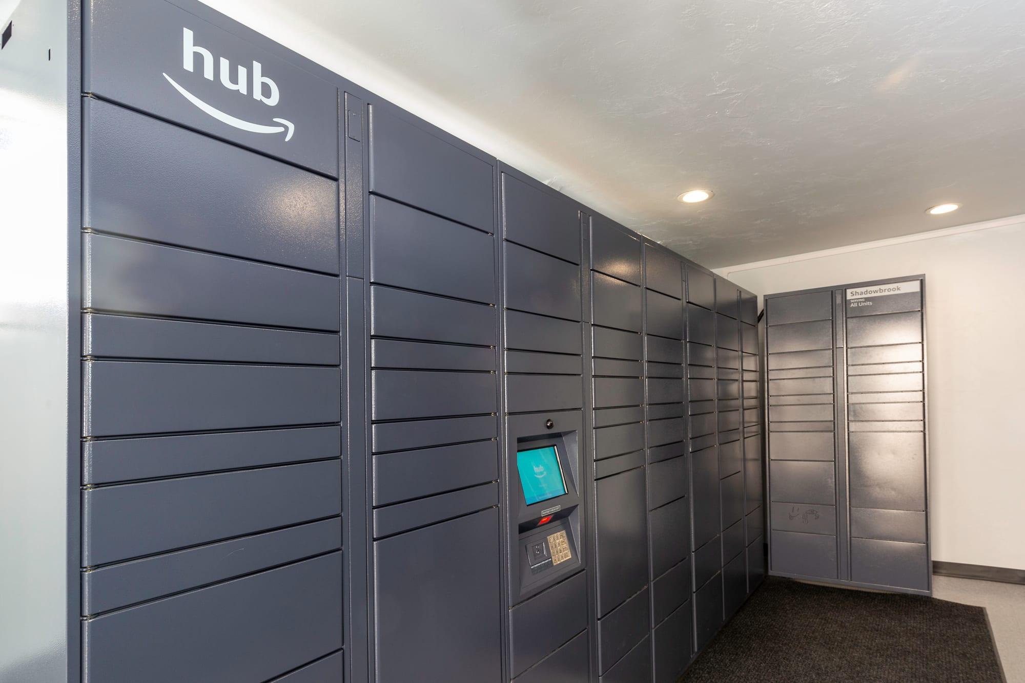 24-hour package lockers at Shadowbrook Apartments in West Valley City, Utah
