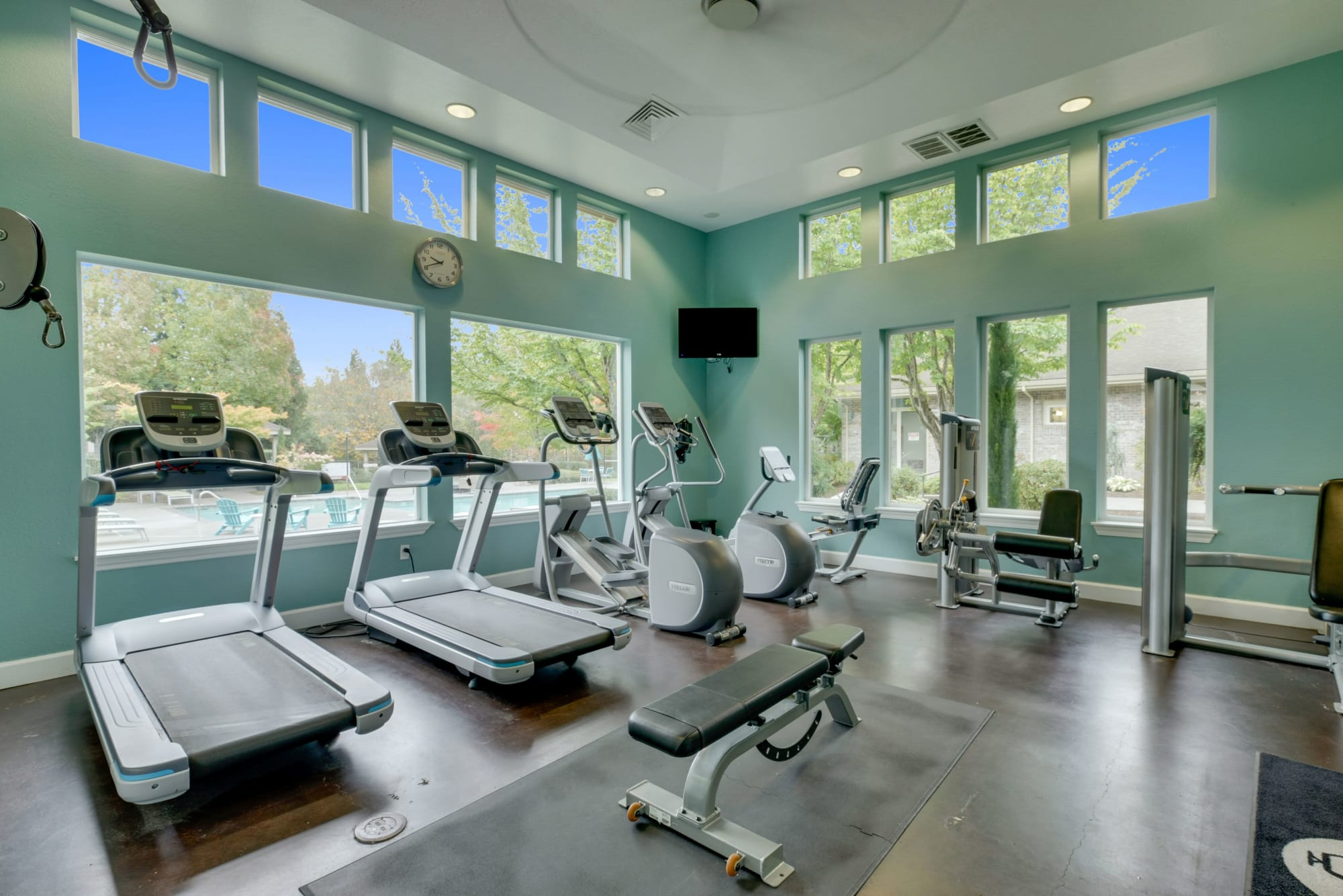 A fitness center with treadmills at The Grove at Orenco Station in Hillsboro, Oregon