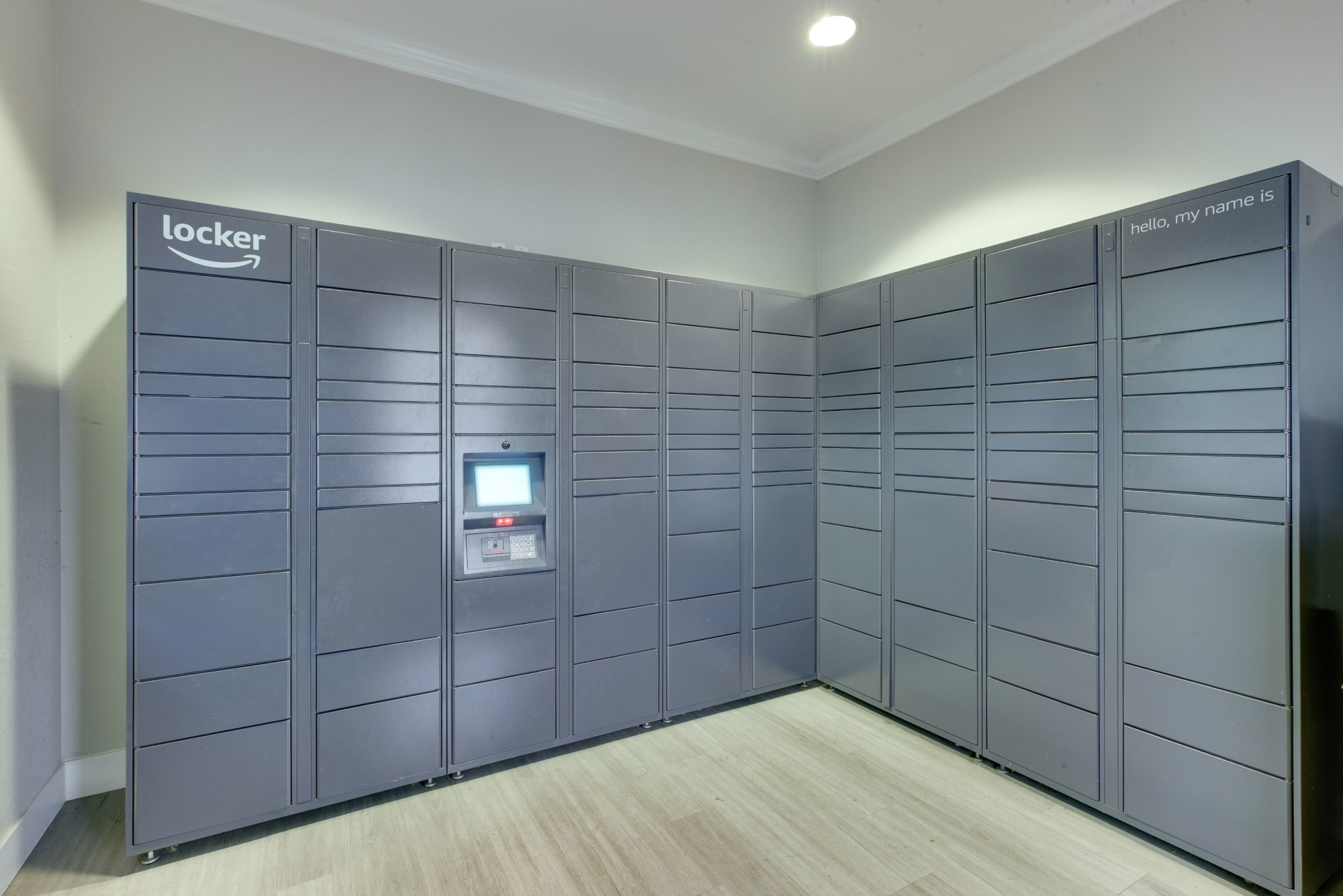 Package lockers at The Grove at Orenco Station in Hillsboro, Oregon
