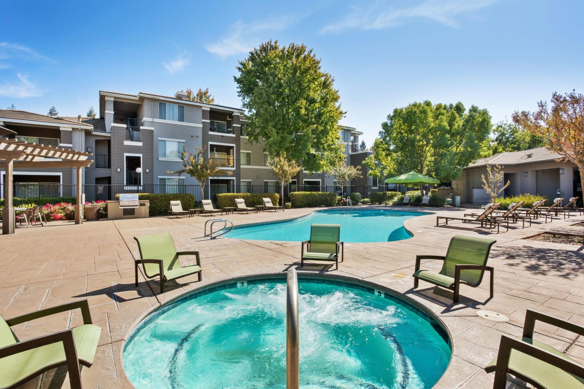 The outdoor swimming pool area at Miramonte and Trovas in Sacramento, California