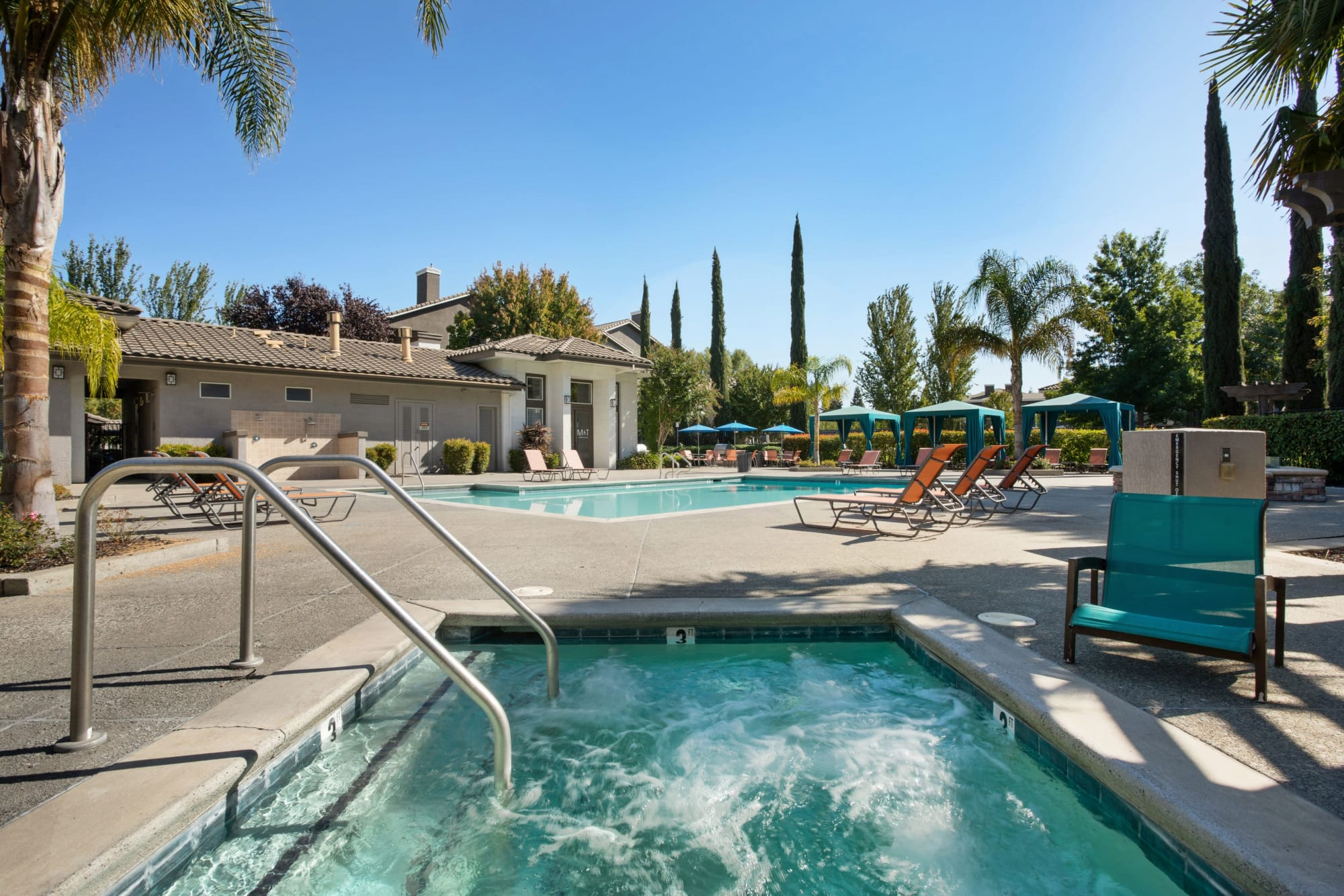 The pool area with cabanas at Miramonte and Trovas in Sacramento, California