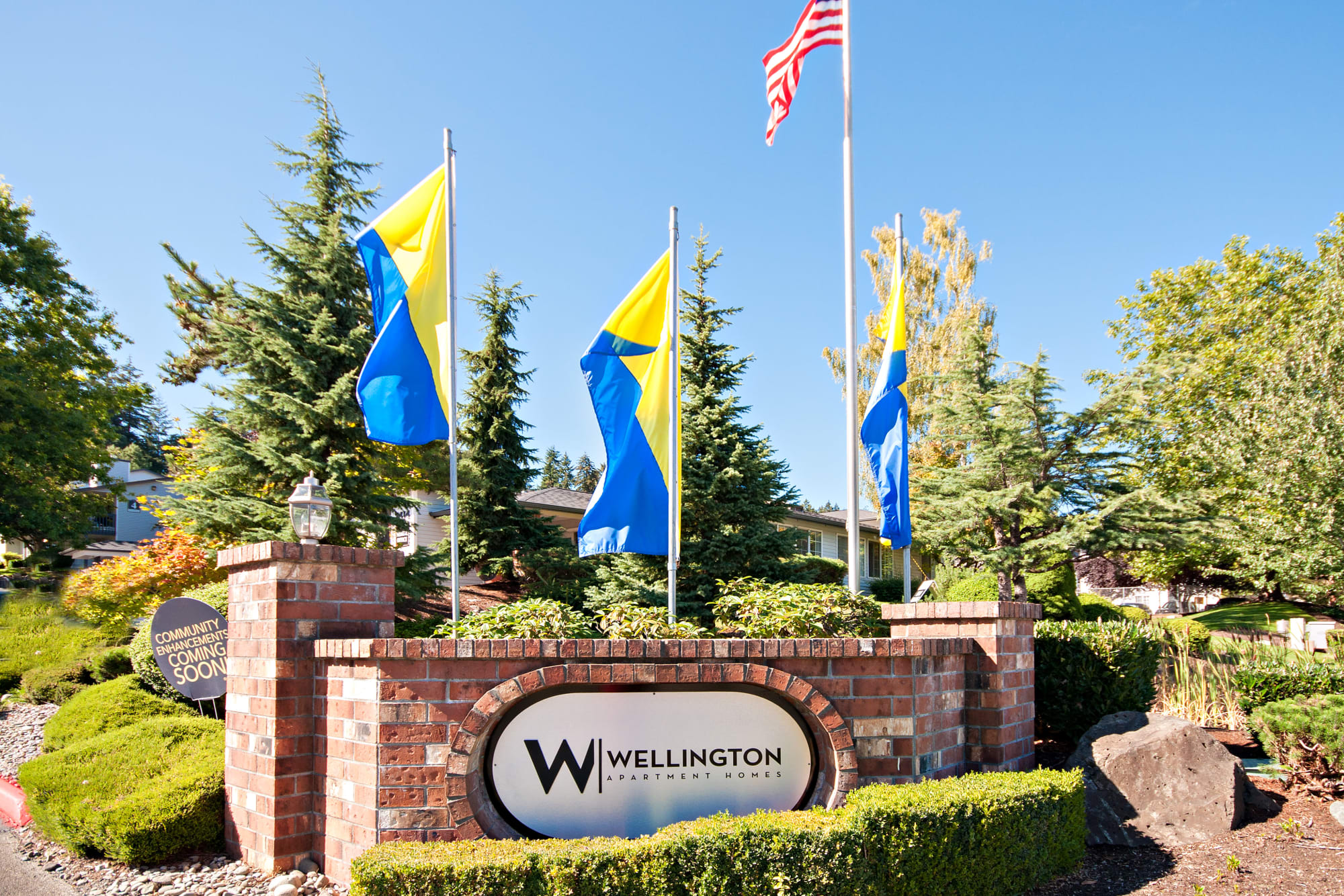 The front monument sign at Wellington Apartment Homes in Silverdale, Washington