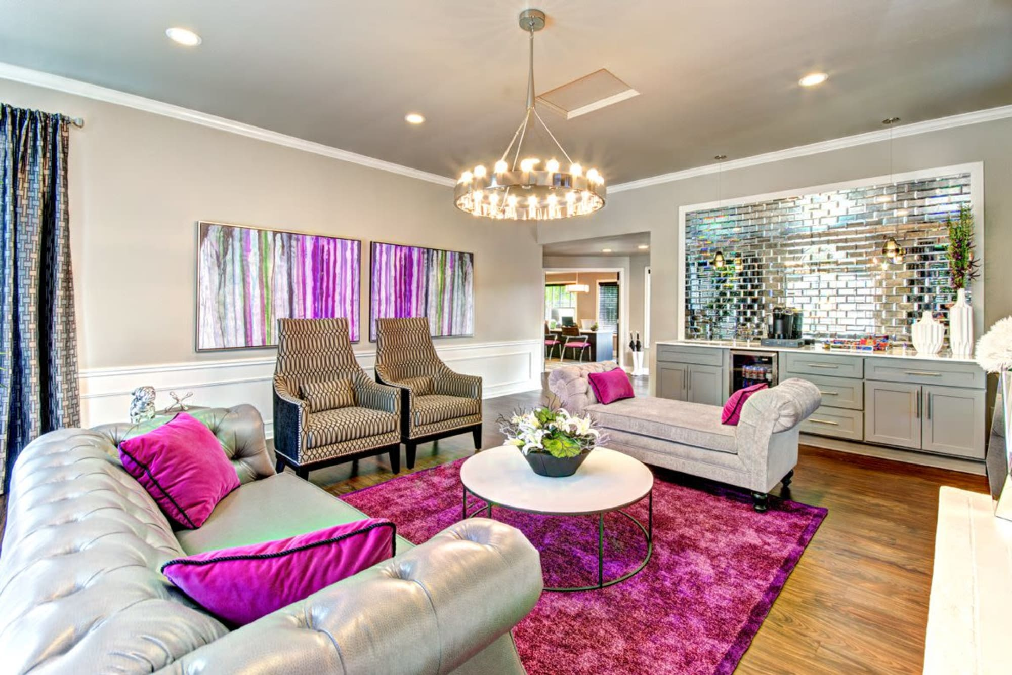 Bright pink décor in the community clubhouse at Wellington Apartment Homes in Silverdale, Washington