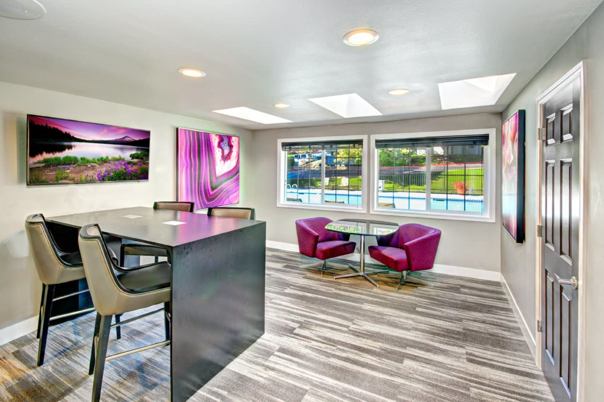 Hardwood-style flooring in the clubhouse at Wellington Apartment Homes in Silverdale, Washington
