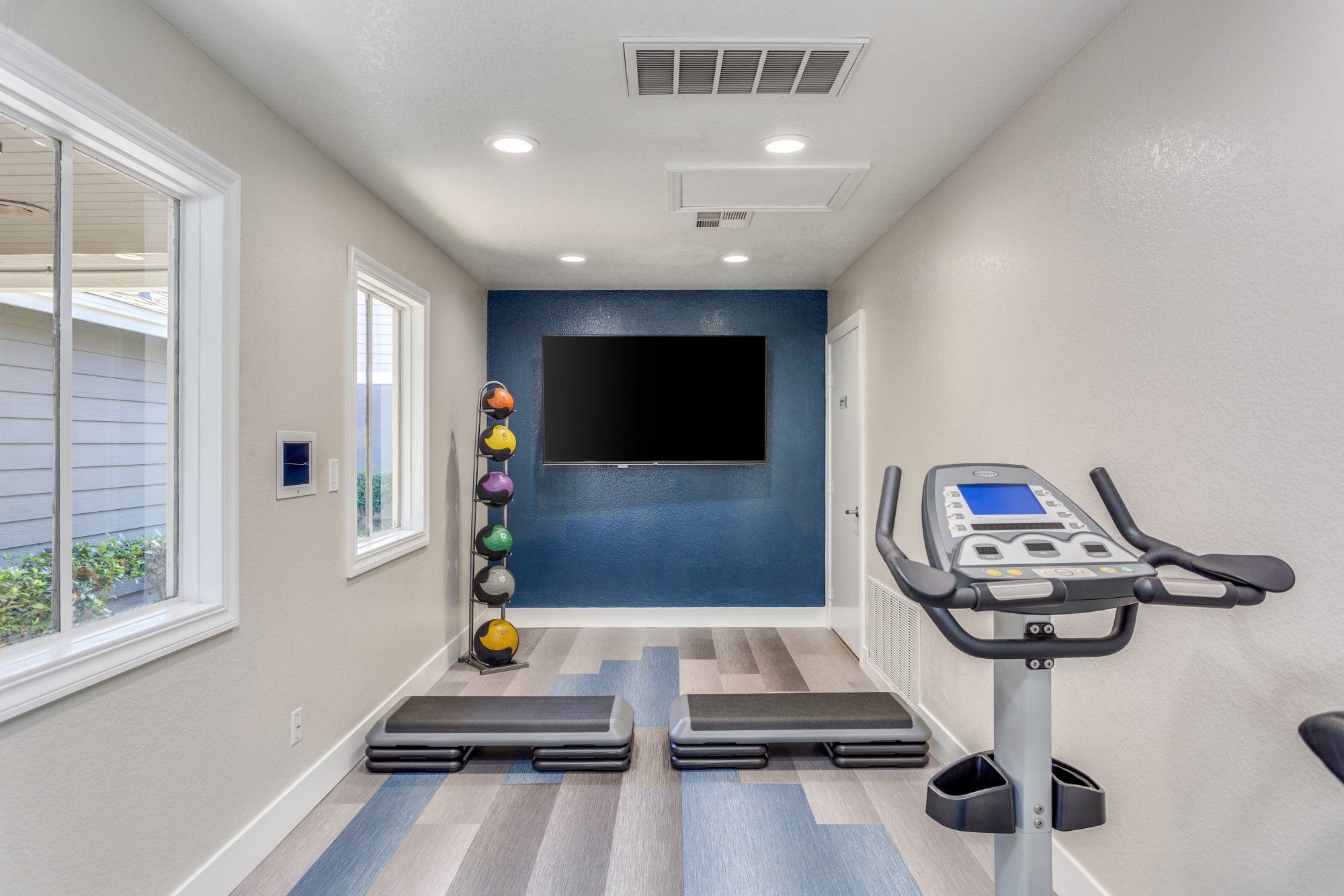 Fitness on demand room at Village Oaks in Chino Hills, California