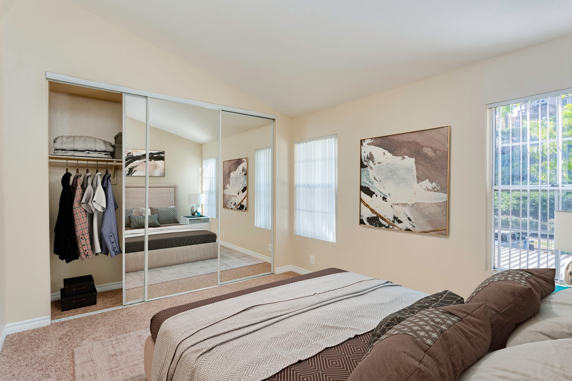 Spacious master bedroom at Village Oaks in Chino Hills, California