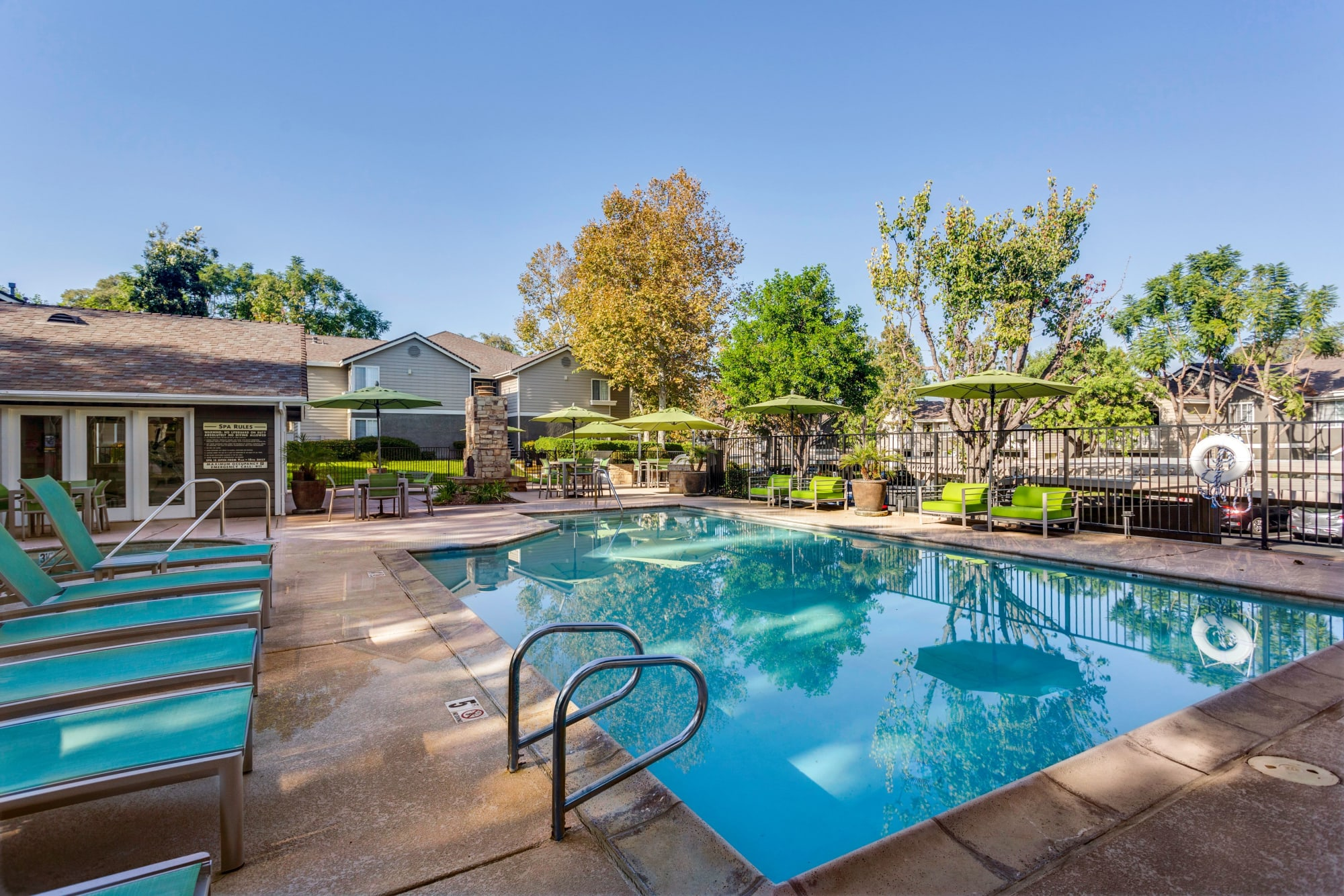 Second Pool with Fireplace, BBQ, and Ping Pong Table at Village Oaks in Chino Hills, California