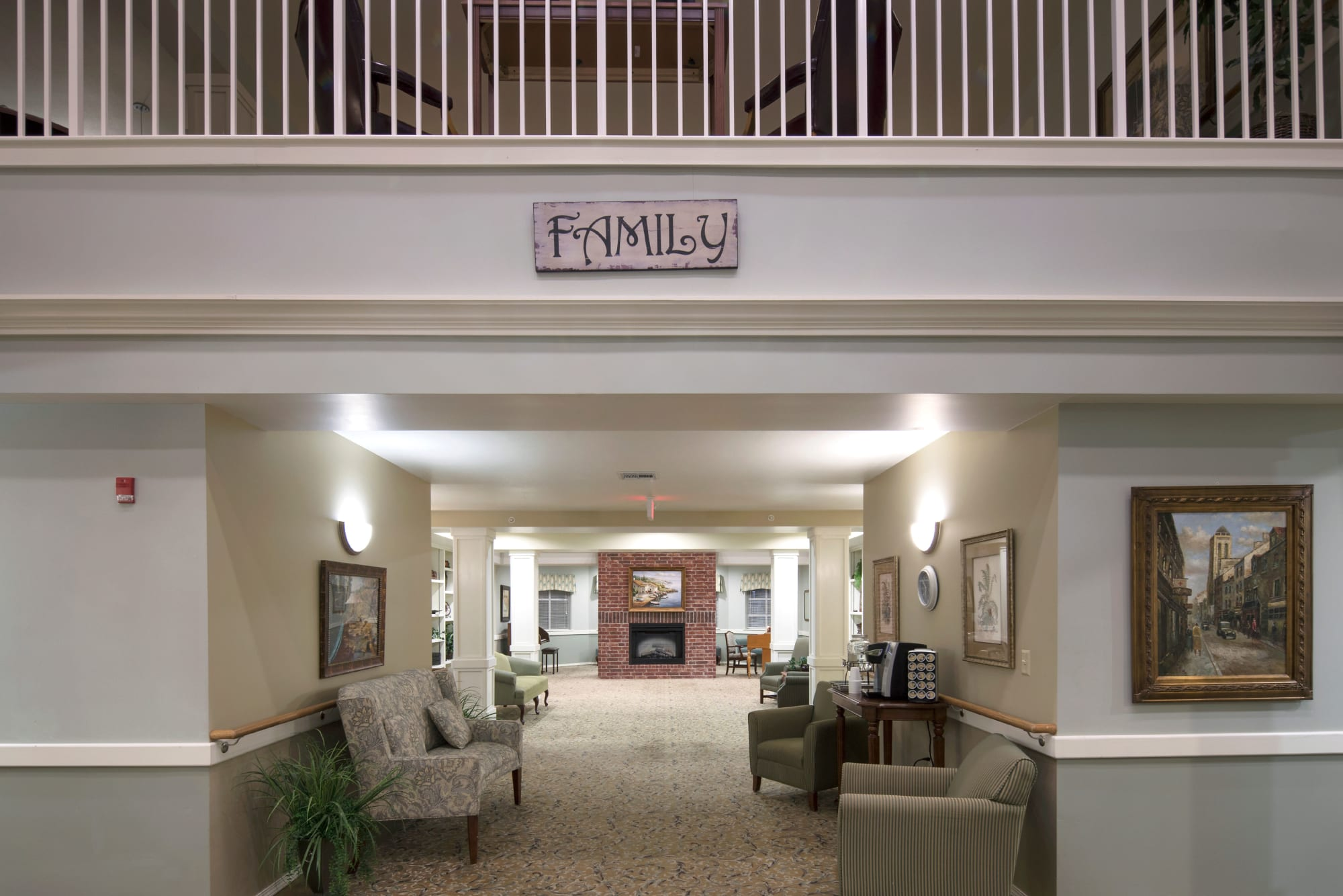 decorated hallway just inside to Canoe Brook Assisted Living & Memory Care in Catoosa, Oklahoma