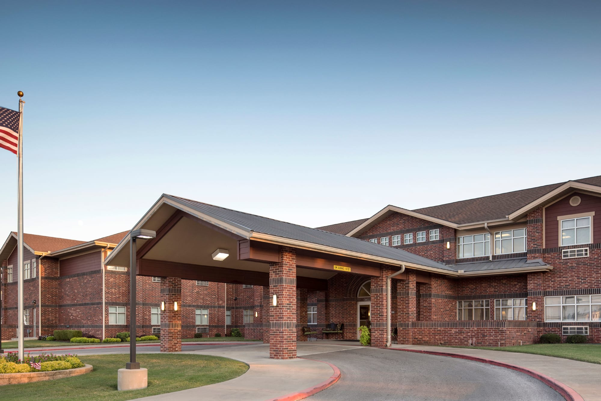 Covered main entrance at Canoe Brook Assisted Living & Memory Care in Catoosa, Oklahoma