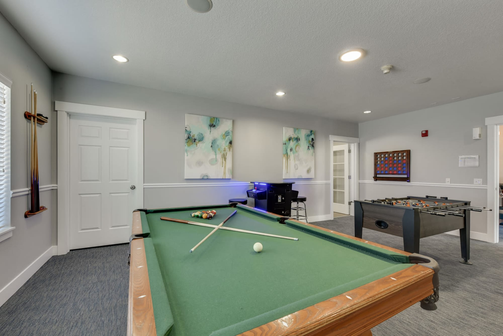 A pool table in the clubhouse at The Landings at Morrison Apartments in Gresham, Oregon