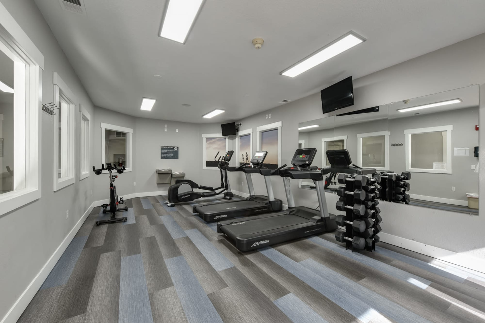 Newly renovated fitness center with treadmills The Landings at Morrison Apartments in Gresham, Oregon