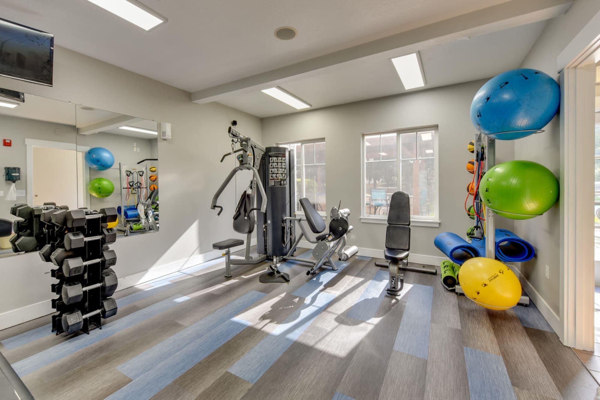Fitness center at The Landings at Morrison Apartments in Gresham, Oregon