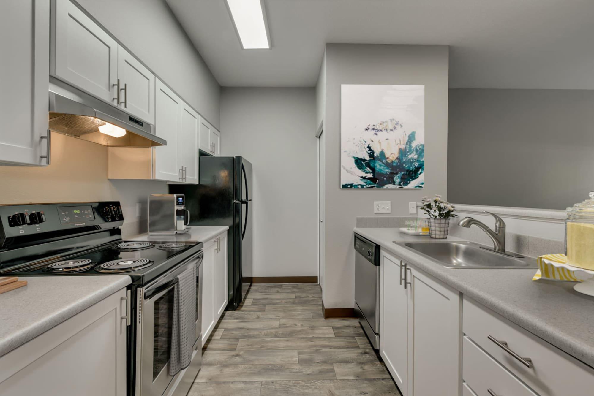White Kitchen Renovation at The Landings at Morrison Apartments in Gresham, Oregon