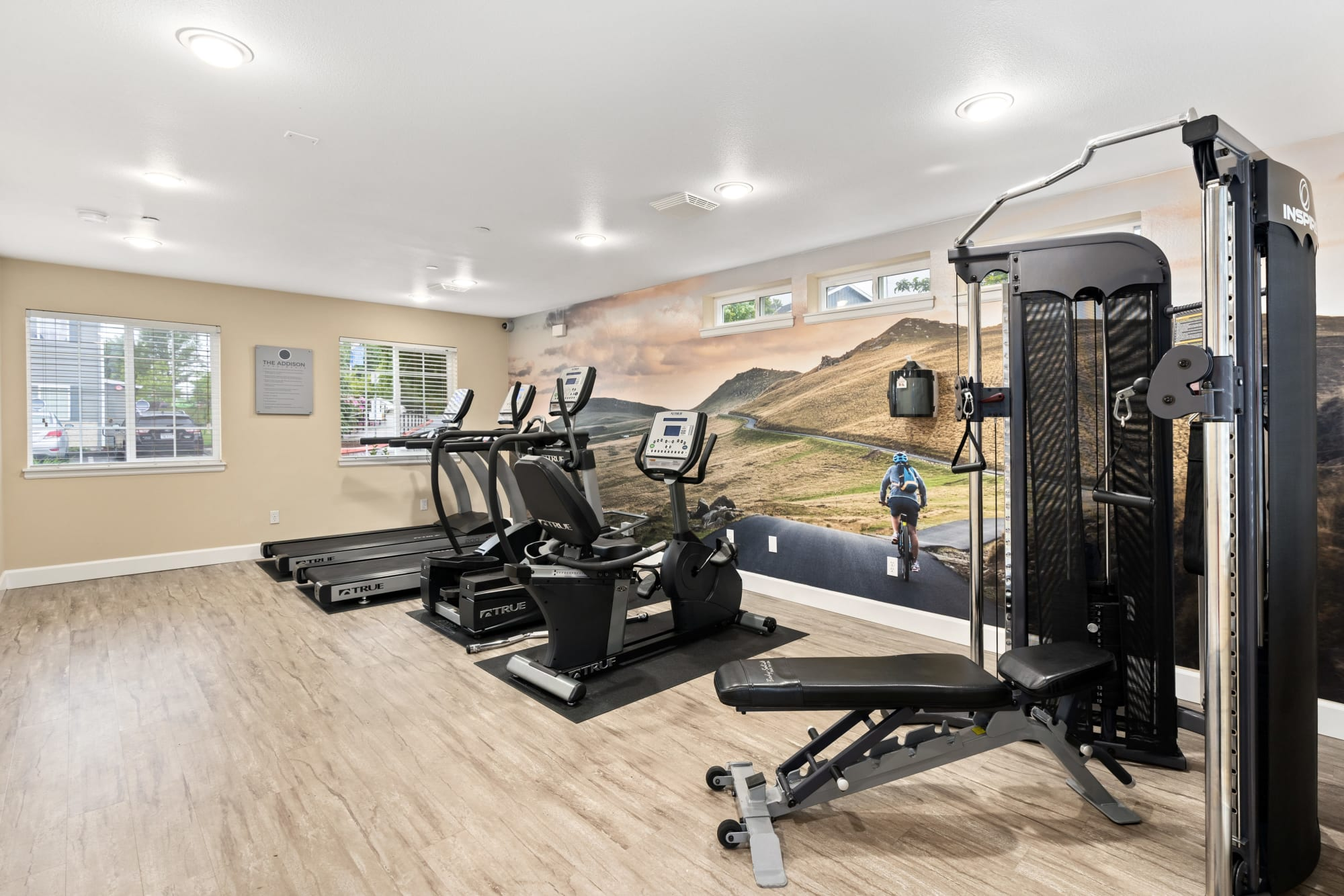Fitness center at The Addison Apartments in Vancouver, Washington