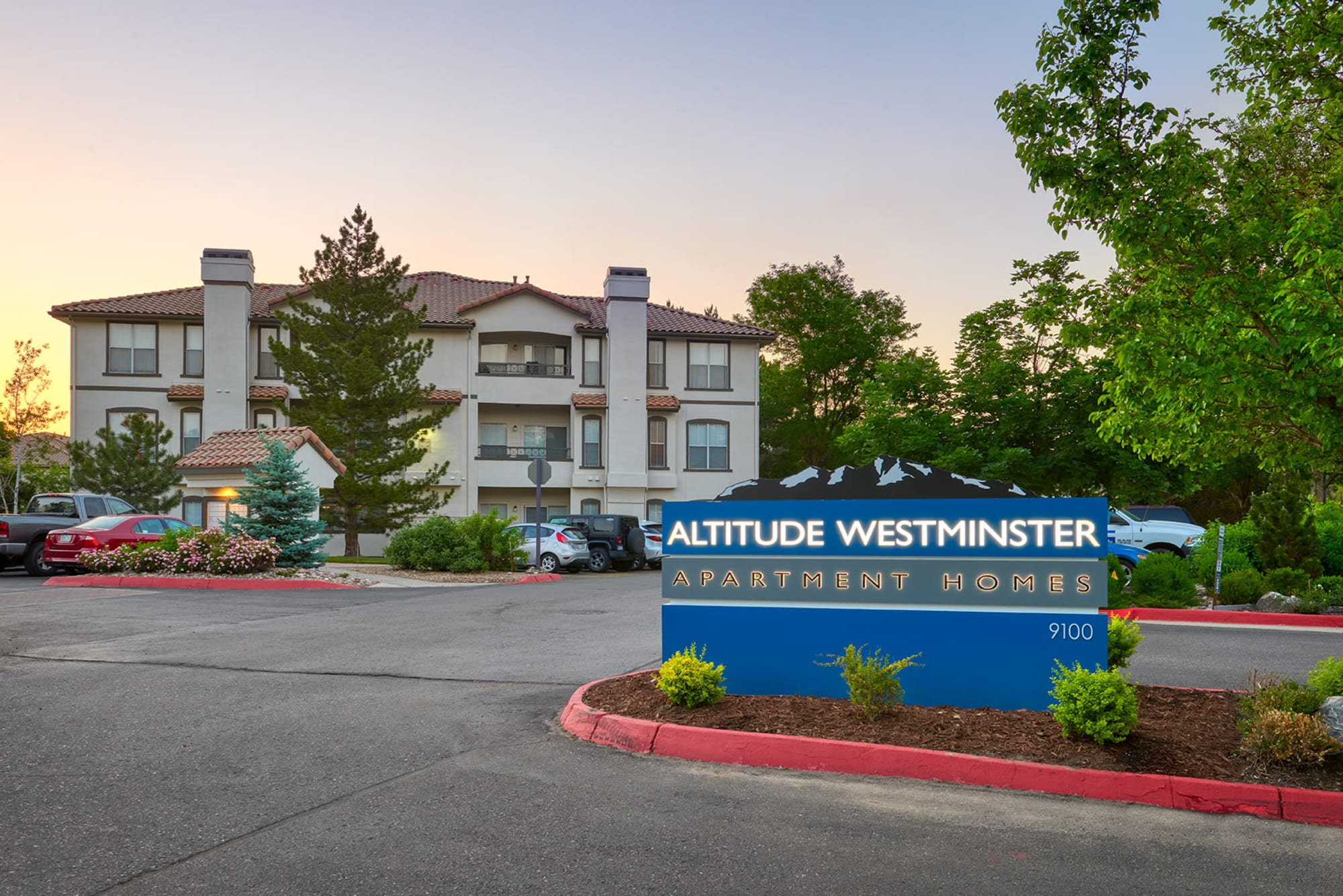 The monument sign in front of Altitude Westminster in Westminster, Colorado