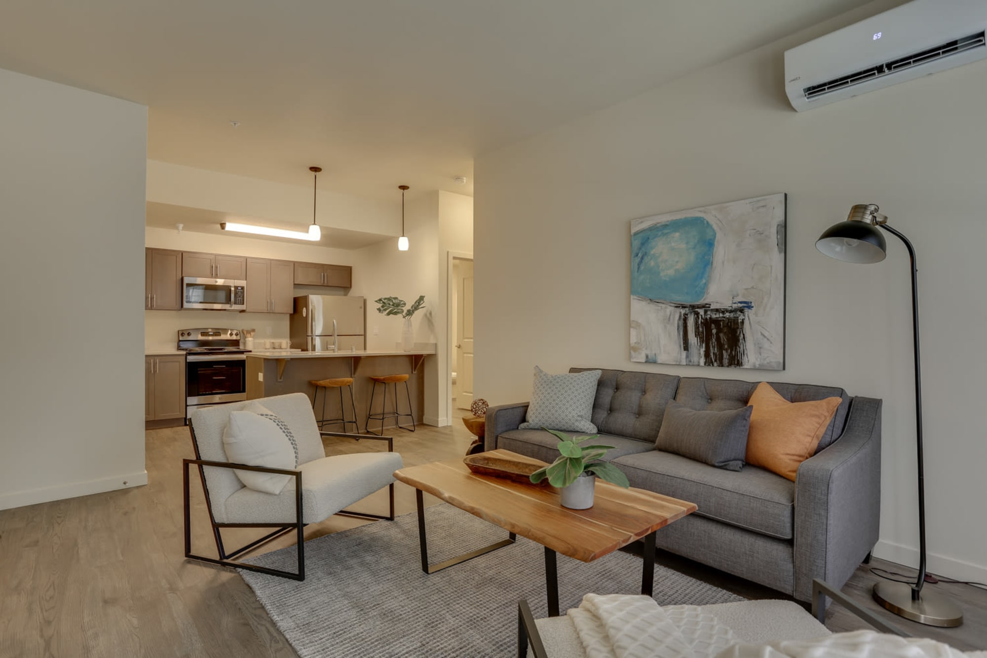 Modern living room furnishings at Haven Hills in Vancouver, Washington