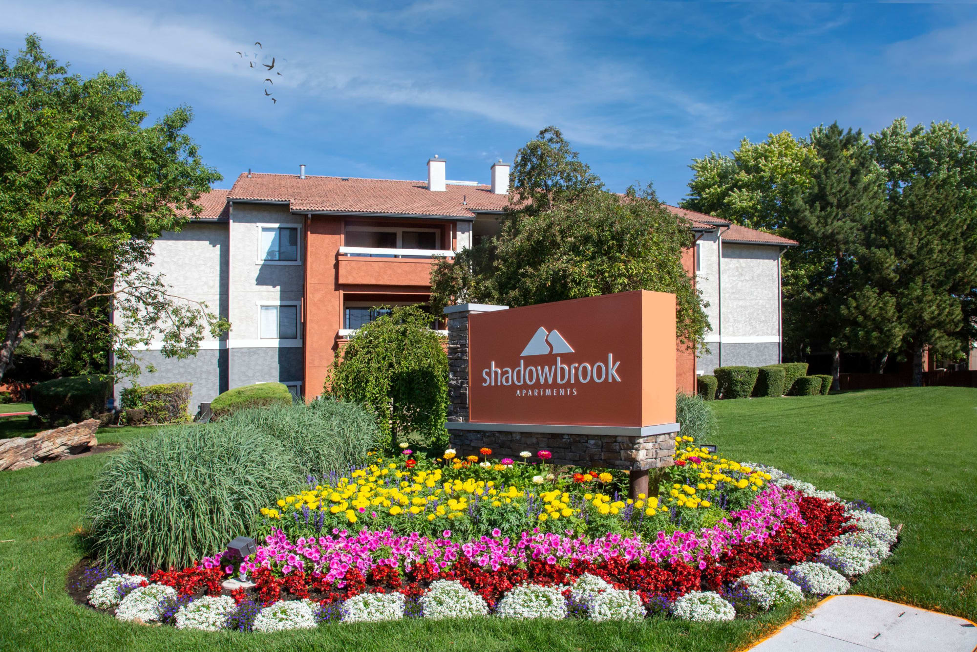 The monument sign at Shadowbrook Apartments in West Valley City, Utah