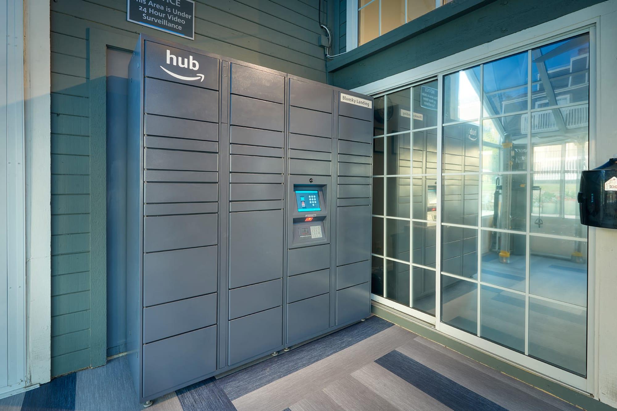 The Amazon HUB package lockers at Bluesky Landing Apartments in Lakewood, Colorado