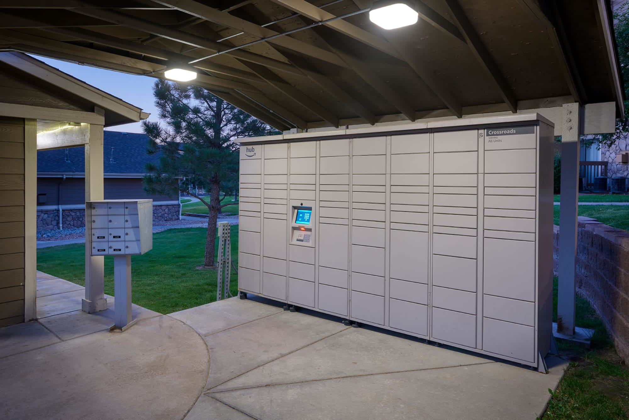 Amazon HUB Lockers at Crossroads at City Center Apartments in Aurora, Colorado