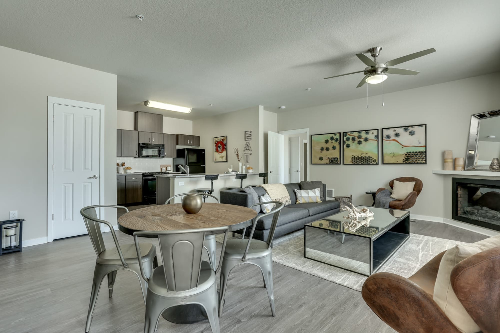 A very spacious living room and dining area at Terrene at the Grove in Wilsonville, Oregon