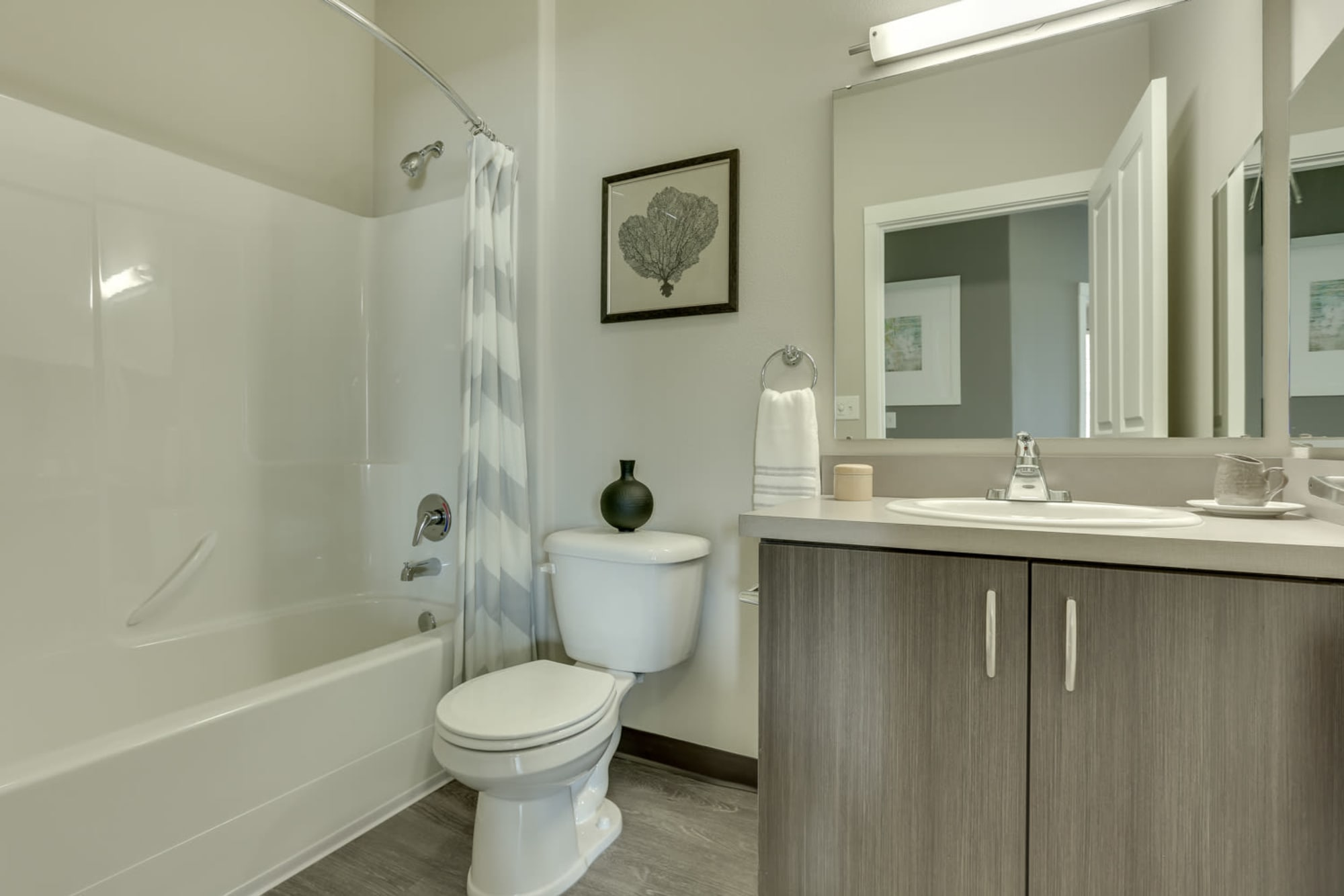 A bathroom at Terrene at the Grove in Wilsonville, Oregon