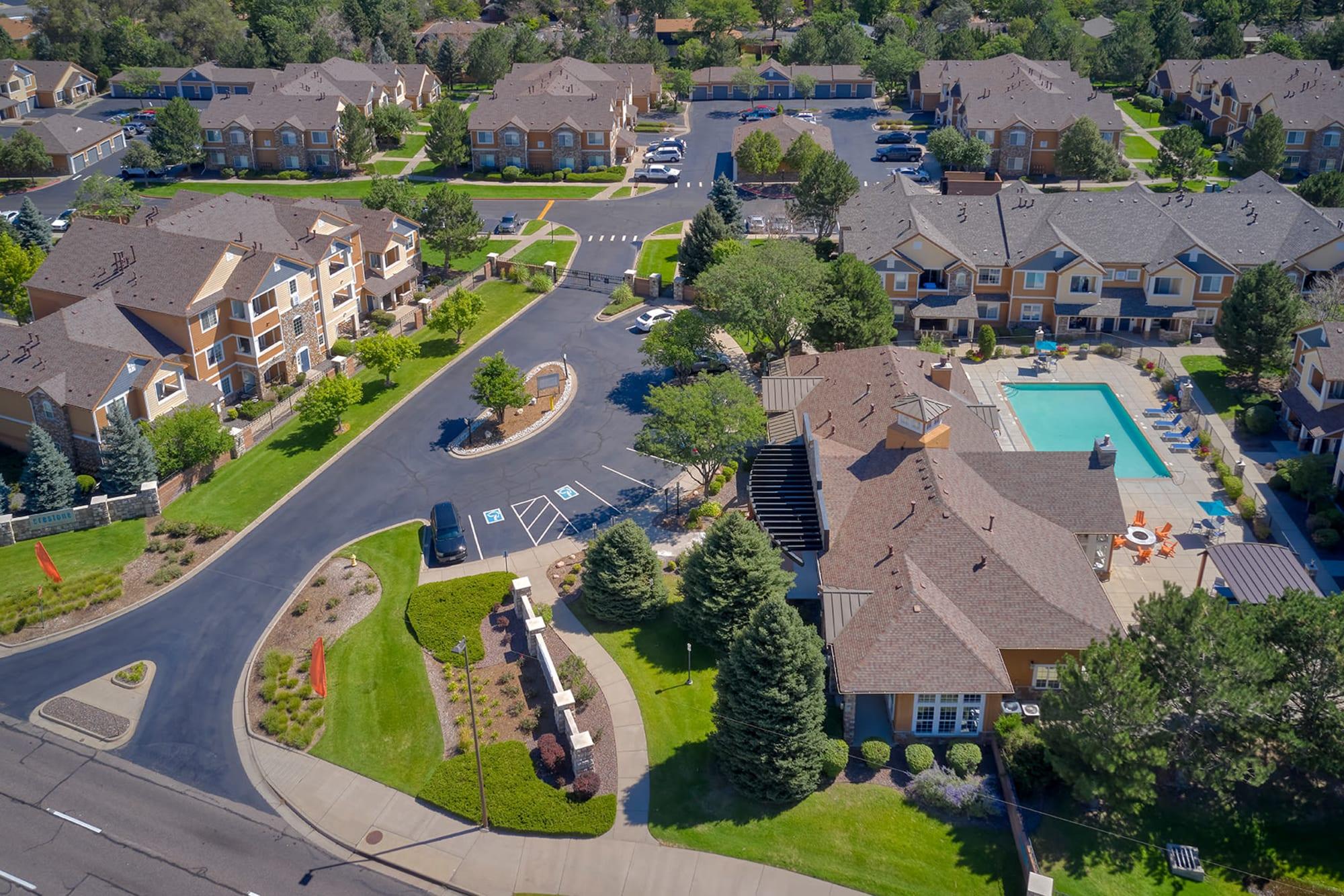 Ariel View of Property at Crestone Apartments in Aurora, Colorado